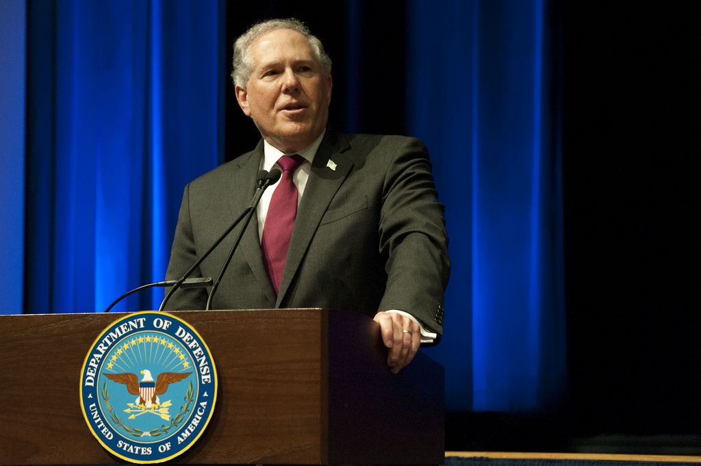 Frank Kendall shown speakig at a Pentagon ceremony