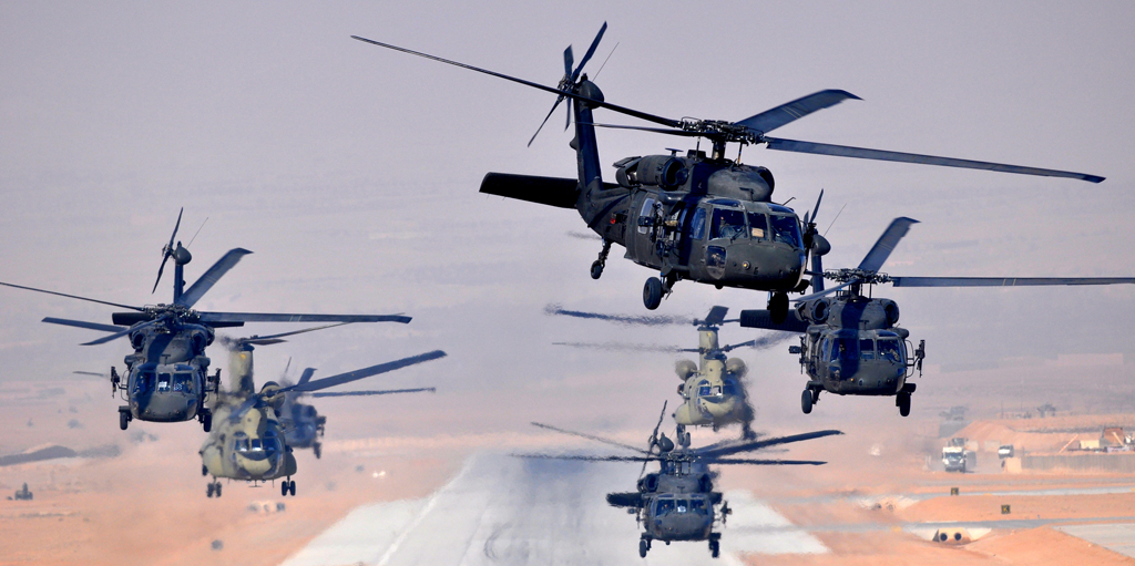 Six UH-60L Black Hawks and two CH-47F simultaneously launch