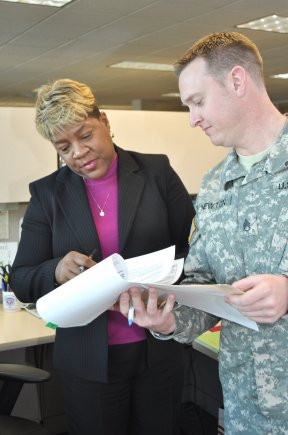 Valerie Tipton and Staff Sgt. Wallace Newton