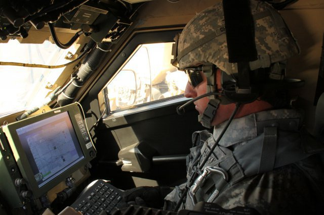 A Soldier demonstrates Warfighter Information Network-Tactical Increment 2 and mission command on the move applications.