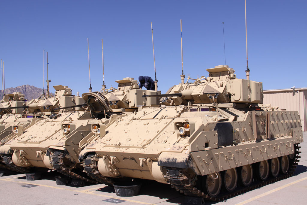 engineer works on a Bradley Fighting Vehicle