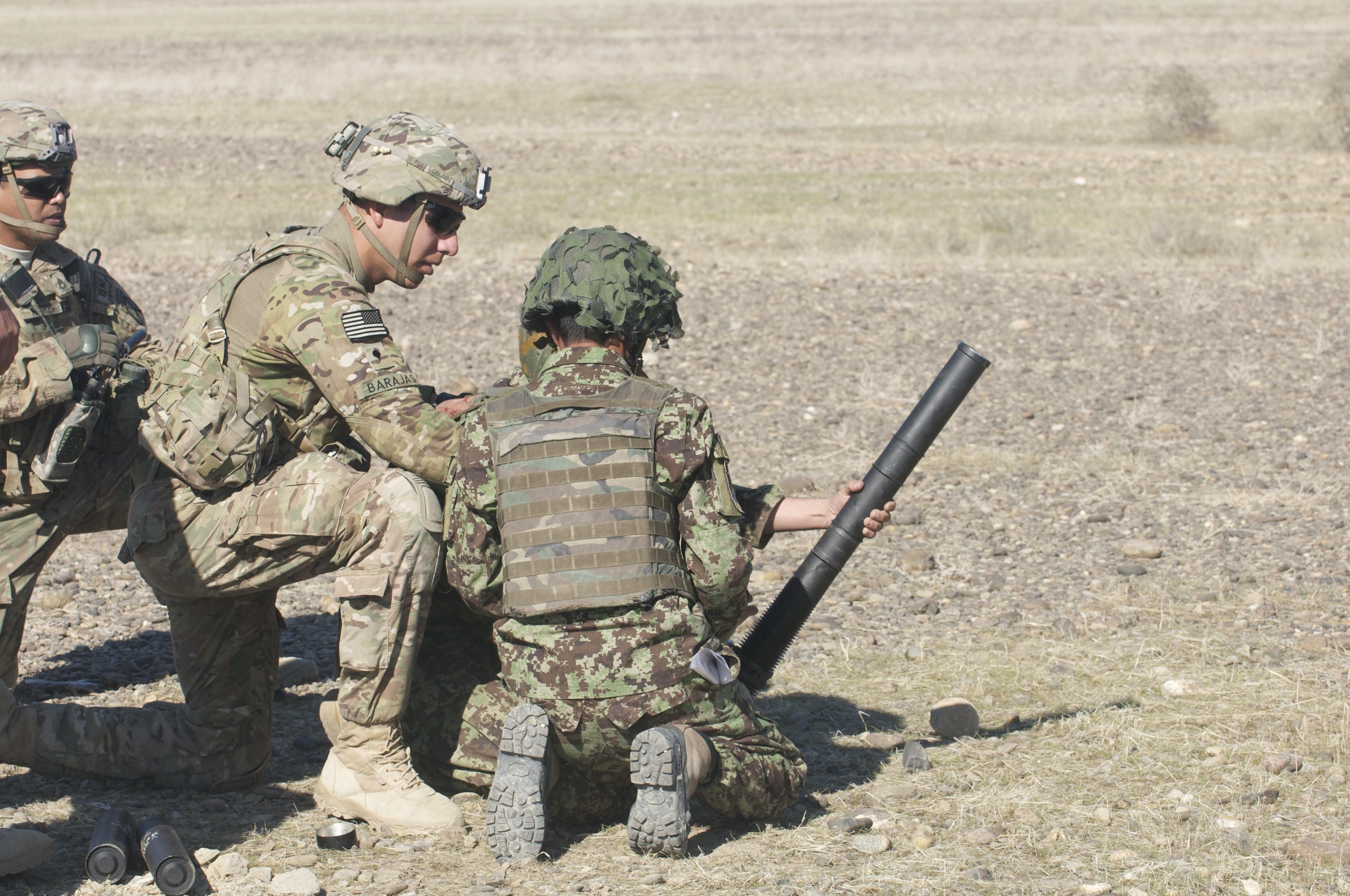 U.S. 60mm mortar training with ANA soldiers