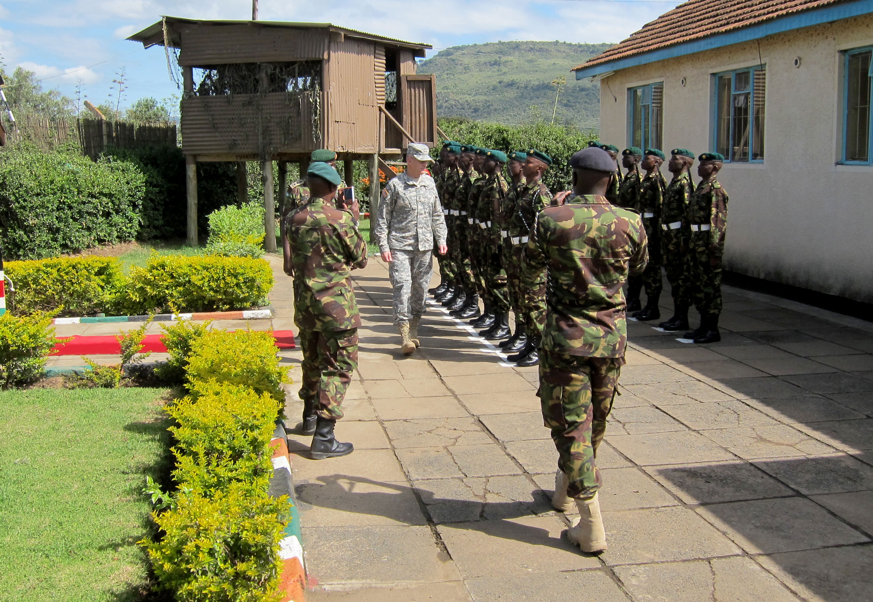 inspection of the Kenyan Ranger Regiment Honor Guard