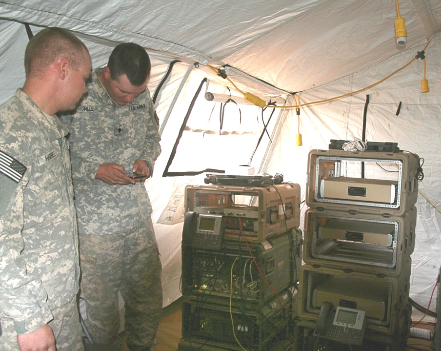 Soldiers from B Company, 86th Expeditionary Signal Battalion, evaluated the new command post 4G LTE/Wi-Fi system (network stacks) at Army's Network Integration Evaluation 14.2, at Fort Bliss, Texas, May 7, 2014.