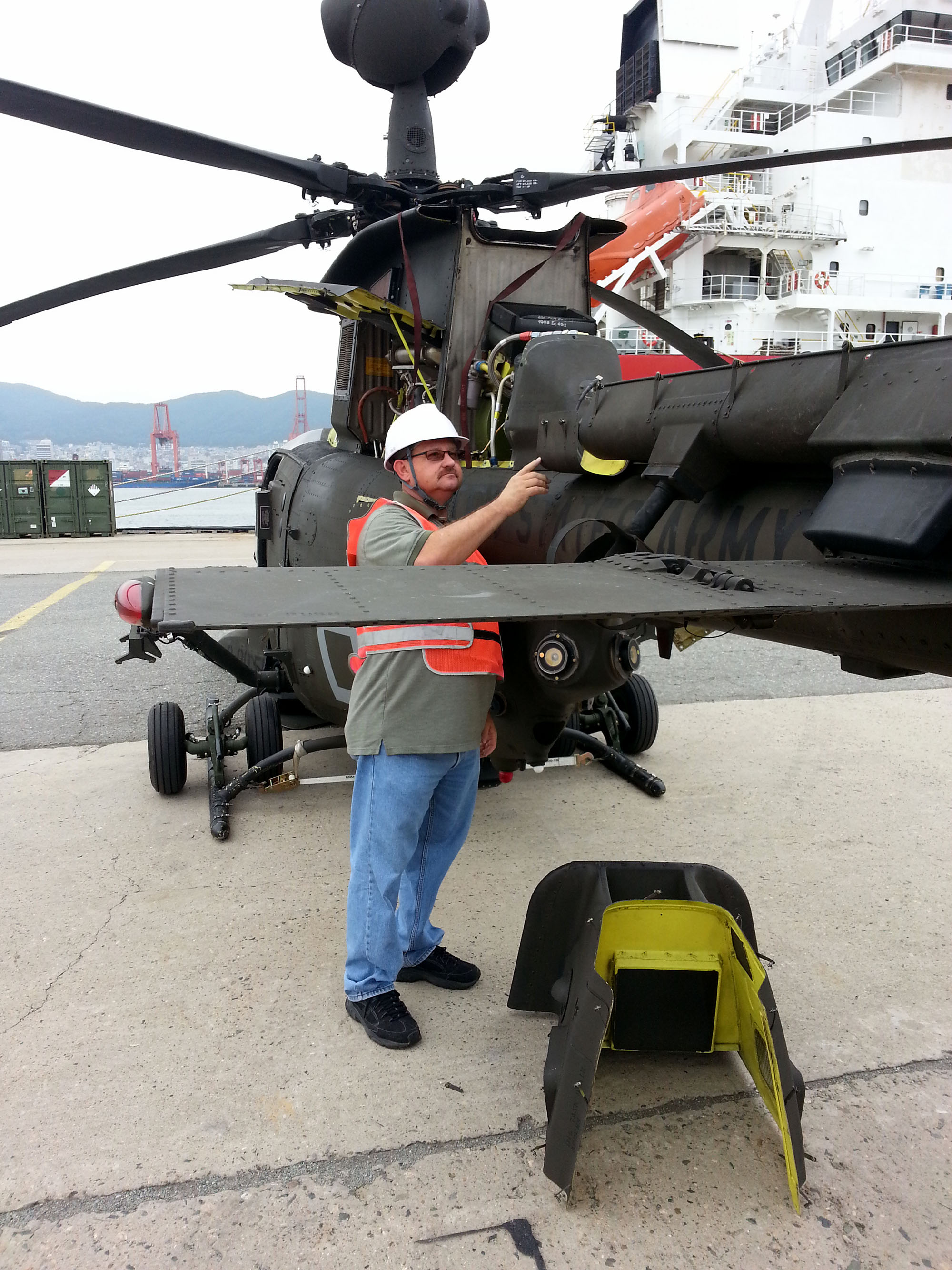 Logistics Support Team inspects an OH-58D Kiowa Warrior helicopter