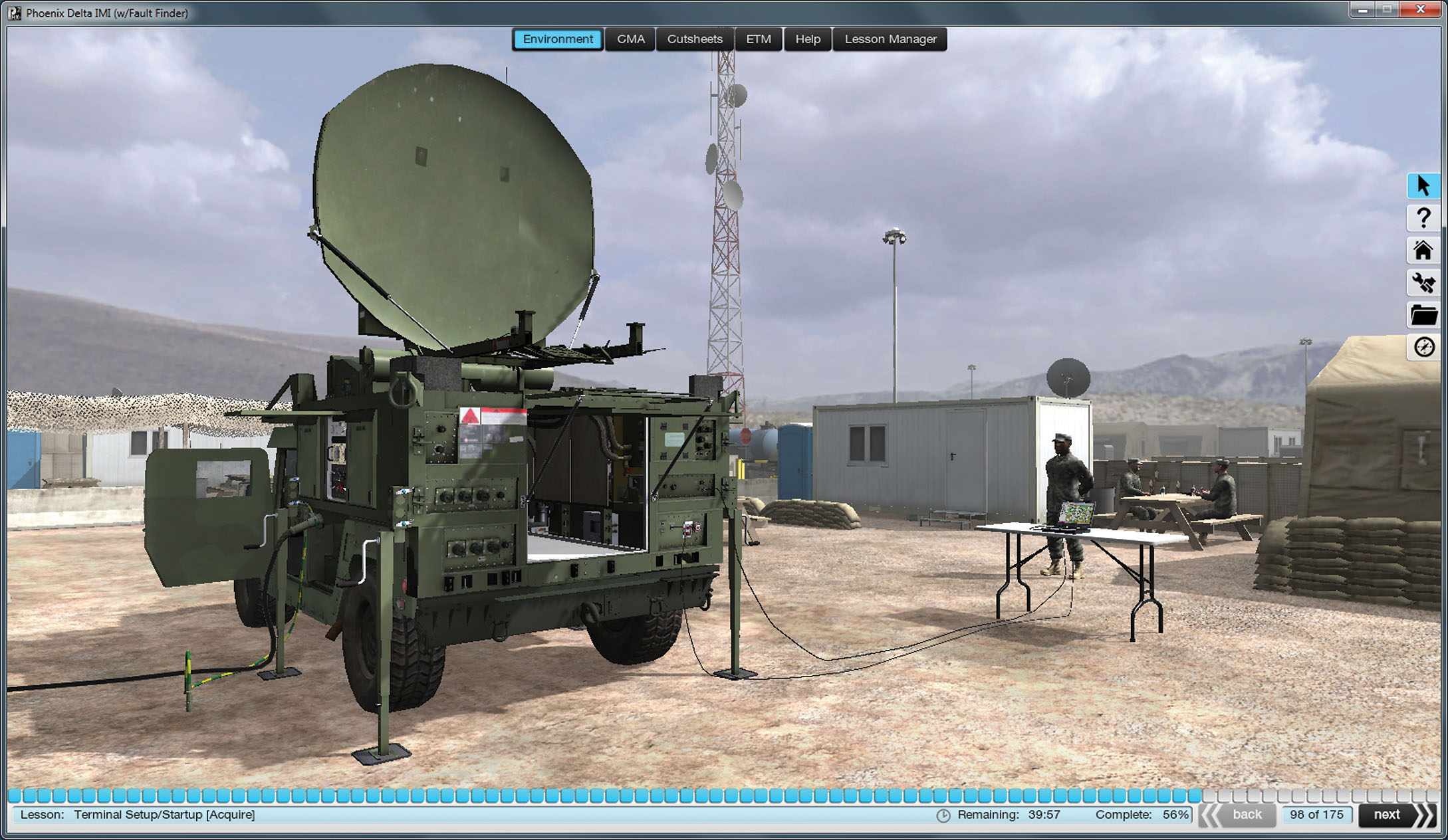 The Phoenix mobile IMI, which has been optimized for use on smartphones and tablets, immerses Soldiers in a 3-D operational environment and allows them to virtually set up, tear down, operate and troubleshoot the AN/TSC-156 Phoenix Quad-Band Satellite Communications System. (Photo courtesy of PM WIN-T)