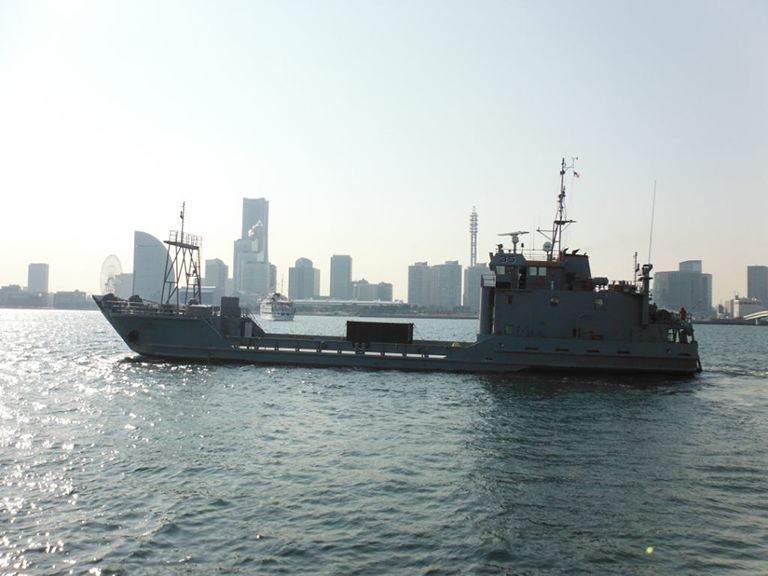 The crews of the 97th Transportation Company and 467th Transportation Company ready tow lines as the U.S. Army Vessel MG Nathanael Green prepares to tow the U.S. Army Vessel Saltillo to Pohang in support of CJLOTS 13.