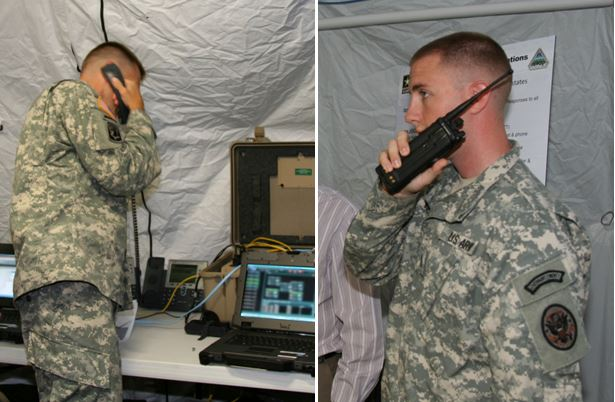 The disaster incident response emergency communications terminal's (DIRECT radio-bridging and voice cross-banding capability enables soldiers to combine radio and phone networks as they did during this demonstration with the Delaware National Guard on September 4 at the Smyrna Readiness Center , Smyrna, Del.  (U.S. Army photo by Amy Walker, PEO C3T)