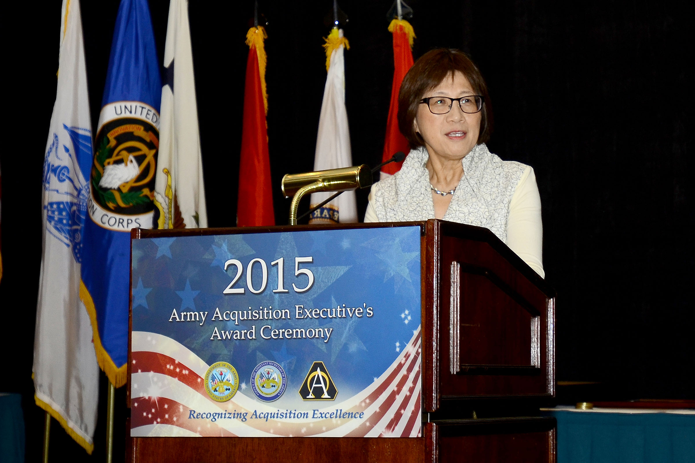 Hon. Heidi Shyu speaks to attendees at the Dec. 2 ceremony for the winners of the AAE Excellence in Leadership Awards, which was held in Orlando, Florida, and hosted by the PEO for Simulation, Training and Instrumentation. (All photos courtesy of PEO STRI)