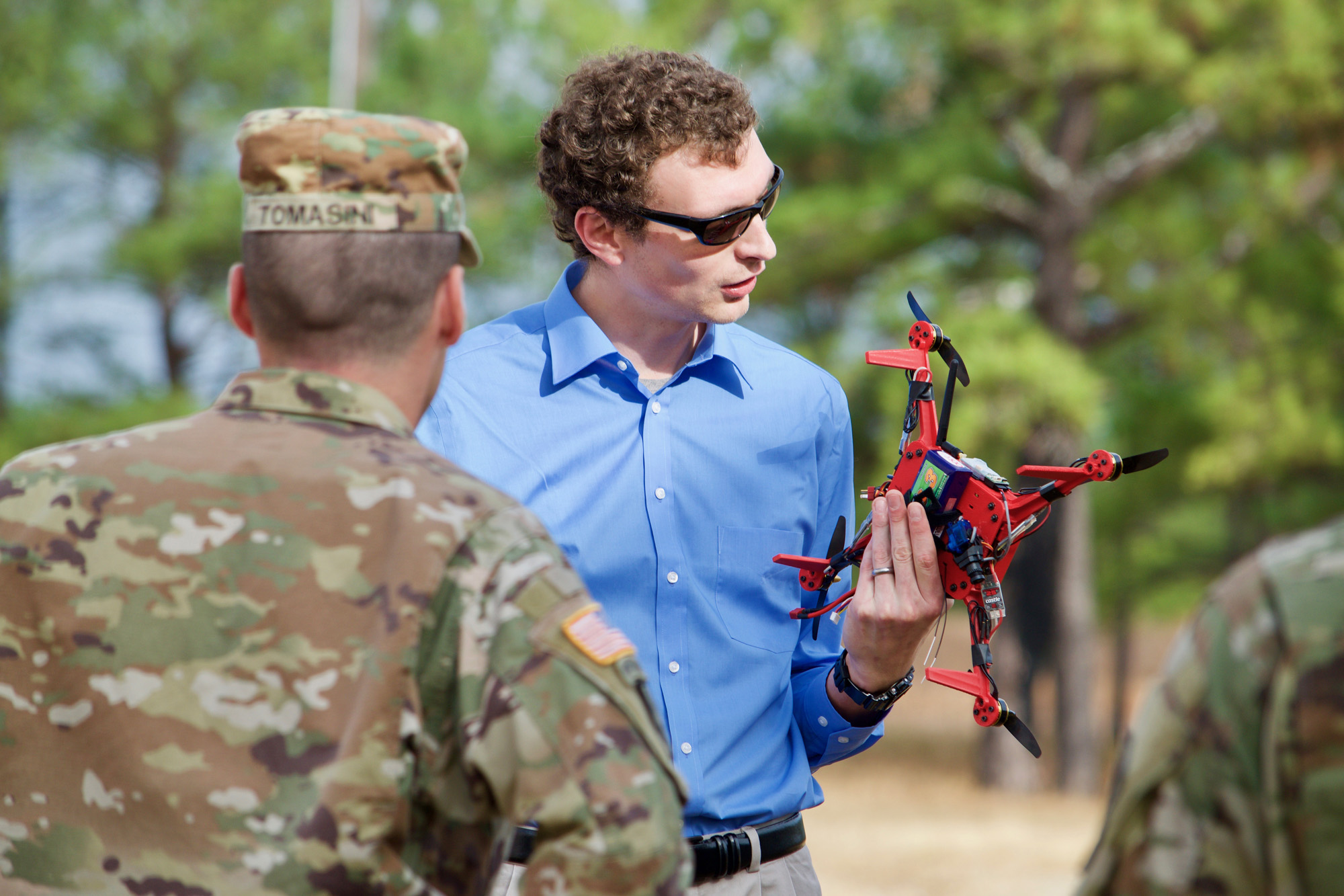 John Gerdes, an engineer with the U.S. Army Research Laboratory, explains the capabilities of the On-Demand Small Unmanned Aircraft System, or ODSUAS, to Soldiers at the Army Expeditionary Warrior Experiments, or AEWE, at Fort Benning, Georgia, Dec. 1, 2016. (U.S. Army photo by Angie DePuydt)