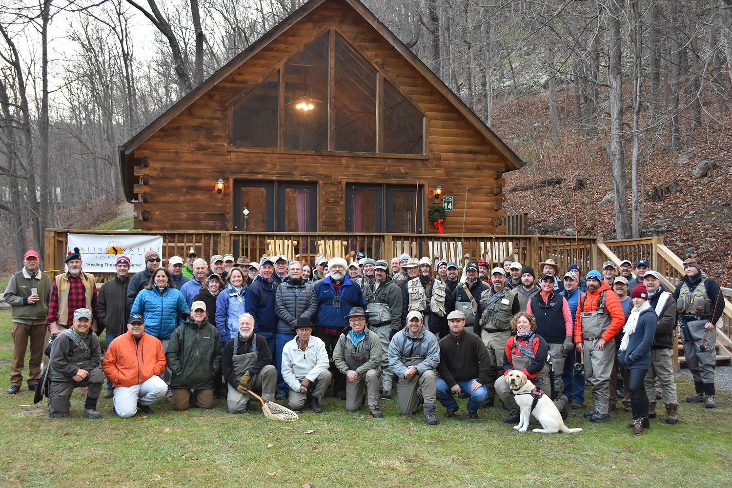 More than 70 veterans, volunteers and support staff attended the Sixth Annual Project Healing Waters Fly Fishing (PHWFF) Fly Fest Dec. 2-4 at Harman's Luxury Log Cabins in Cabins, West Virginia. The event was hosted by the PHWFF Quantico program and included more than 45 wounded warriors from seven different PHWFF programs. (photo by Taylor Laksbergs)