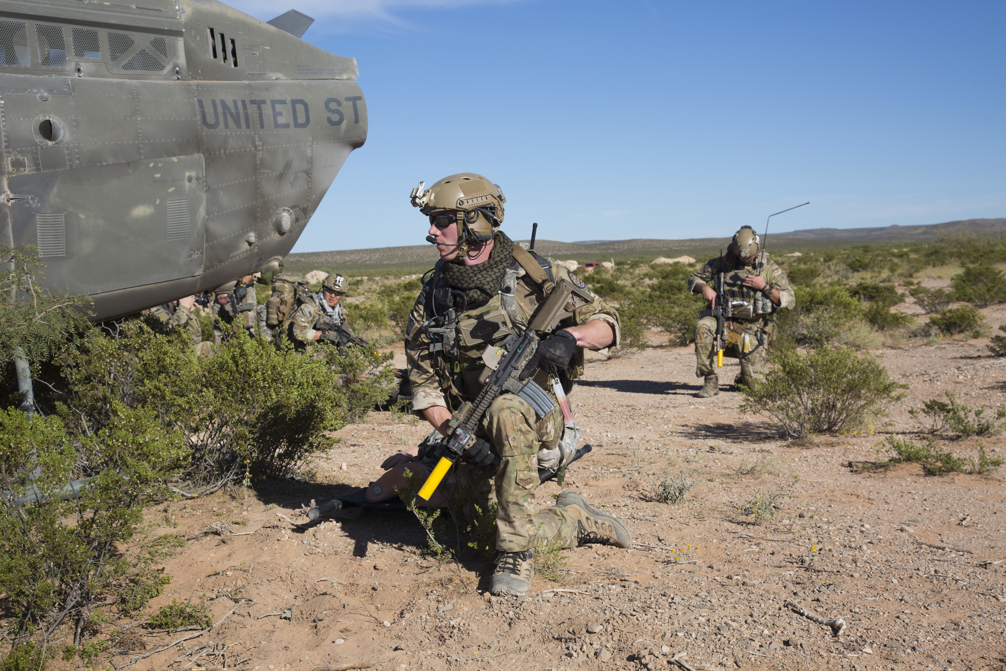 U.S. Special Forces conduct a downed pilot simulation for the AWA 17.1 exercise at Fort Bliss on Oct. 18, 2016. The Army partnered the RAND Arroyo Center to game out a variety of scenarios featuring different end strengths of U.S. services and allied partners; adversaries' force posture and capabilities; treaty obligations; posture and policy constraints; and other key variables in order to predict likely options and outcomes. (U.S. Army photo by Pfc. Alexander Holmes)