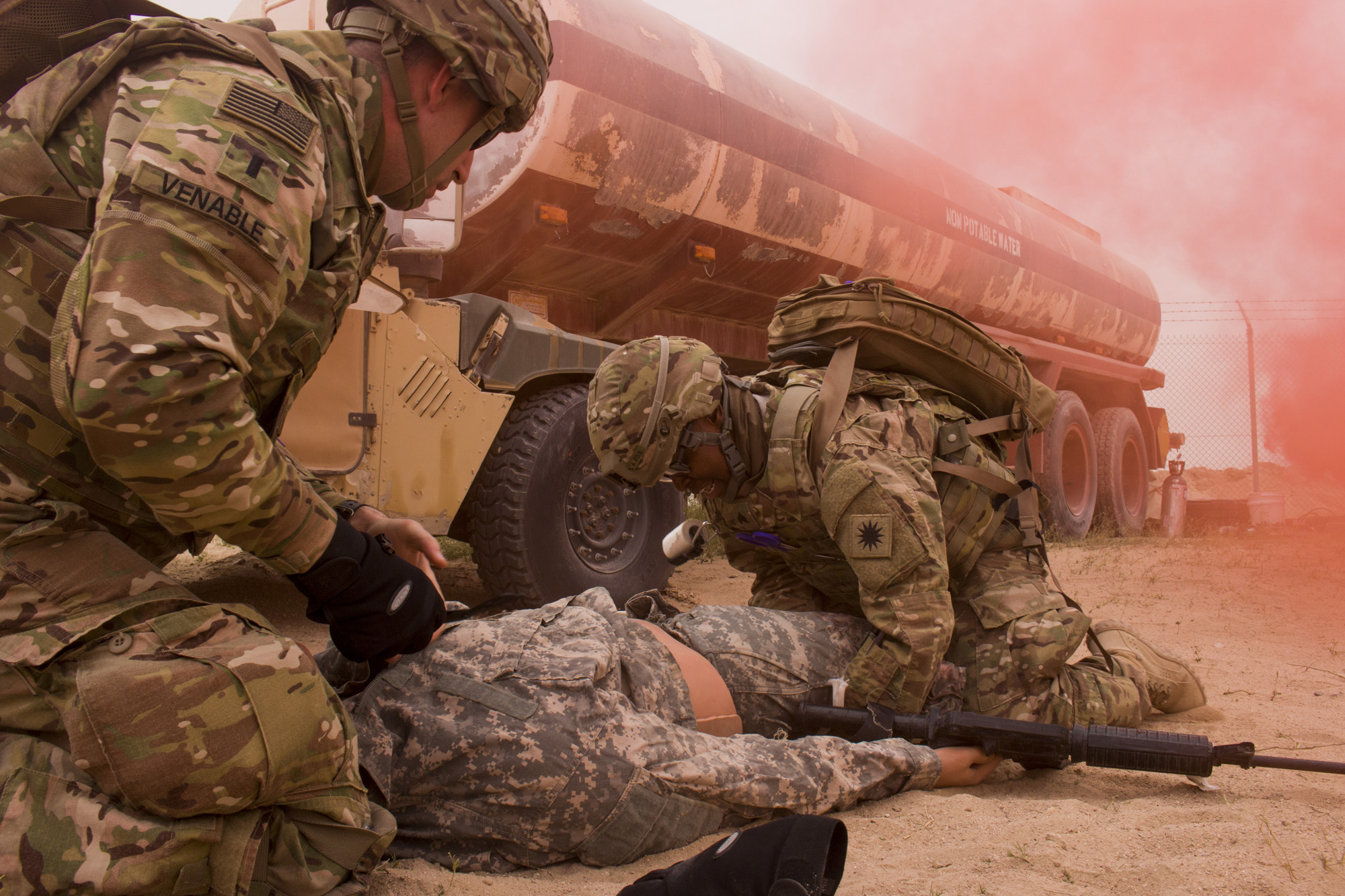 1st Lt. Chuck Venable, a resident in the 10th Combat Support Hospital, and Sgt. Ravalene Butler, aviation medical noncommissioned officer of the 140th Aviation Regiment, 40th Combat Aviation Brigade (CAB), treat a simulated patient at a tactical combat casualty care lane at Camp Buehring, Kuwait in February 2016. CSHs can treat any patient in theater and handle everything from dispensing prescriptions to performing oral surgery. (U.S. Army photo by Staff Sgt. Ian M. Kummer, 40th CAB Public Affairs)