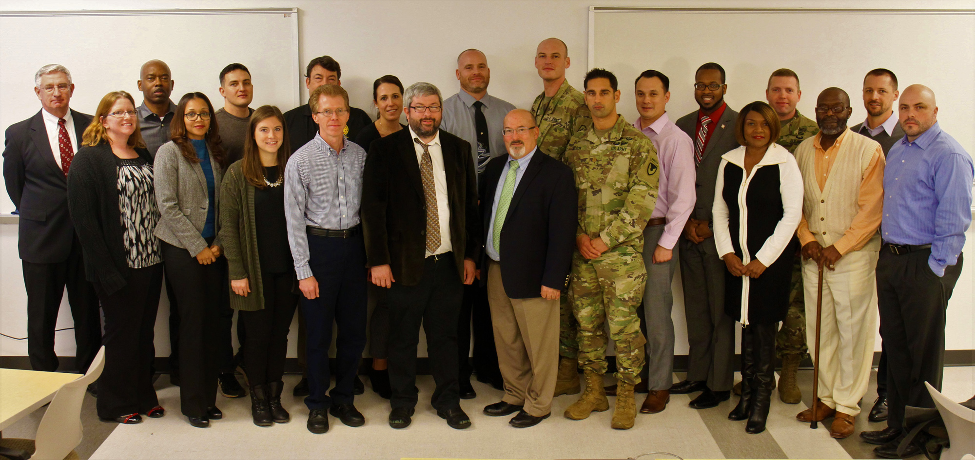 Lean Six Sigma Black Belt candidates, instructors and Gary Martin (front row, middle), program executive officer for Command, Control and Communications-Tactical, gather for the LSS graduation ceremony Dec. 9, 2016, at Aberdeen Proving Ground, Maryland. (Photo Credit: U.S. Army photo by Ryan Myers, PEO C3T)
