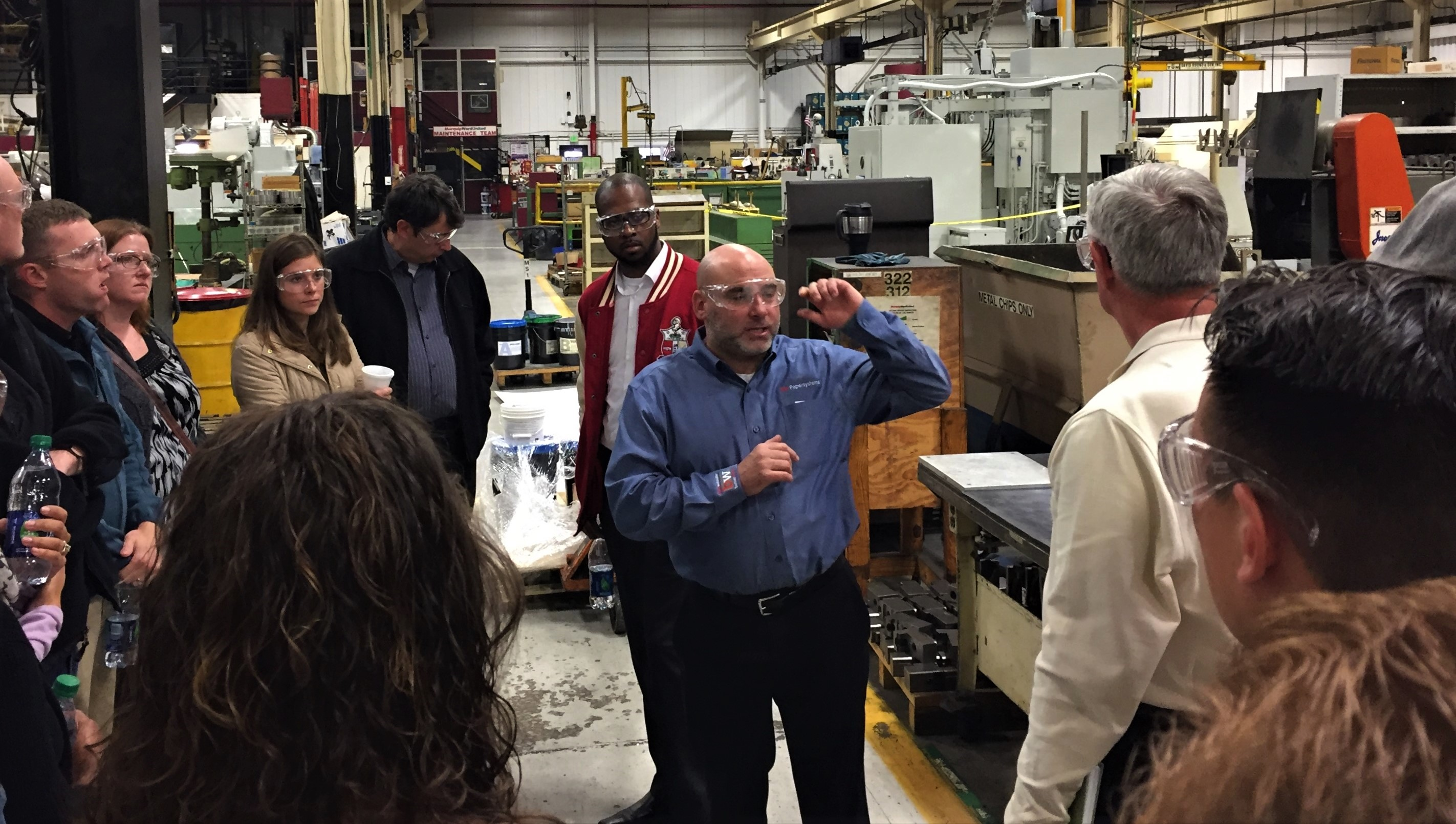 Lean Six Sigma Black Belt candidates from Aberdeen Proving Ground, Maryland, tour the Marquip Ward United factory Nov. 16, 2016, in Hunt Valley, Maryland. (Photo Credit: U.S. Army photo by Thom Hawkins, PEO C3T)