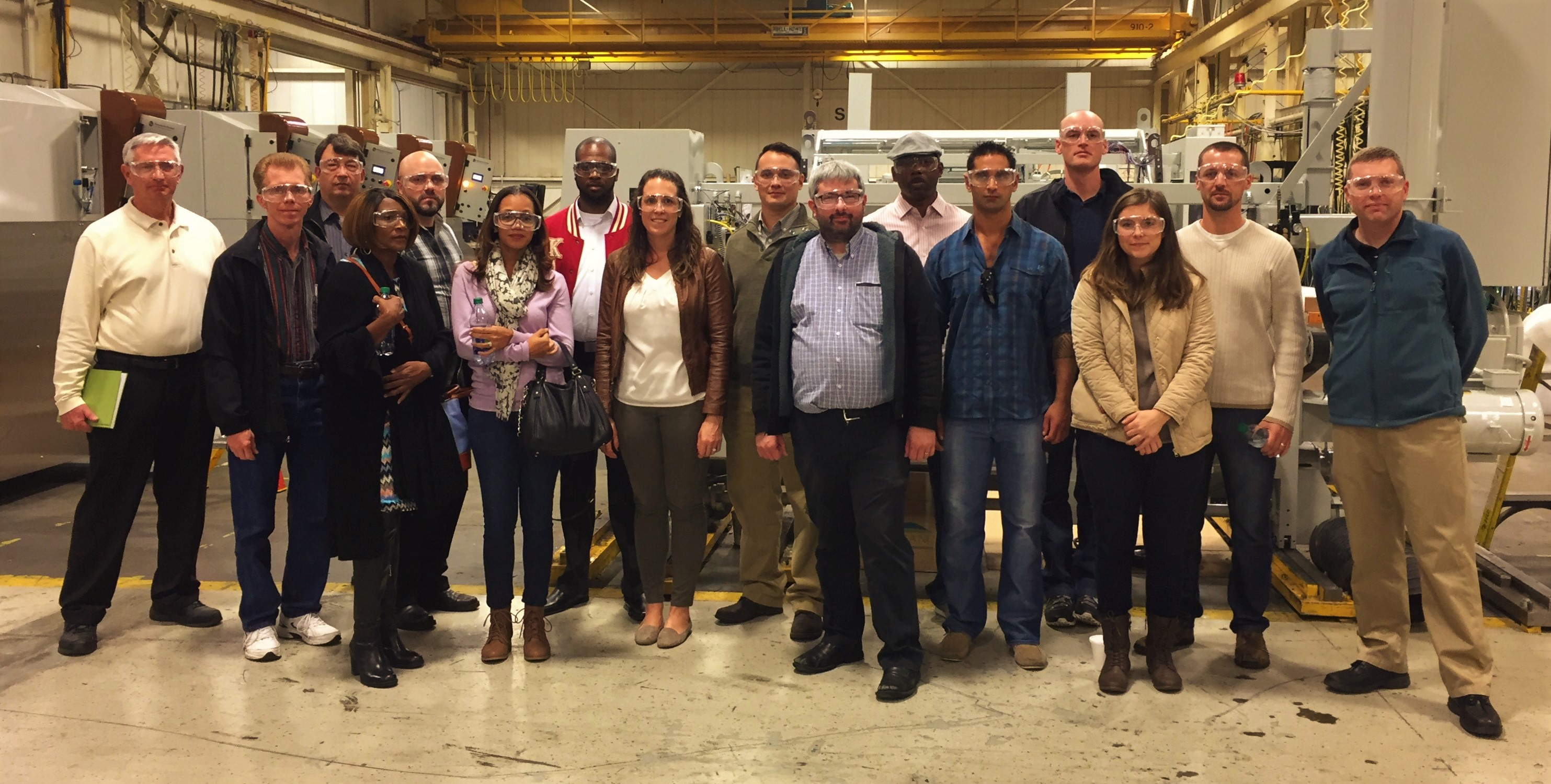 Lean Six Sigma Black Belt candidates from Aberdeen Proving Ground, Maryland, tour the Marquip Ward United factory Nov. 16, 2016, in Hunt Valley, Maryland. (Photo Credit: Photo by Wade McCartin, Marquip Ward United)