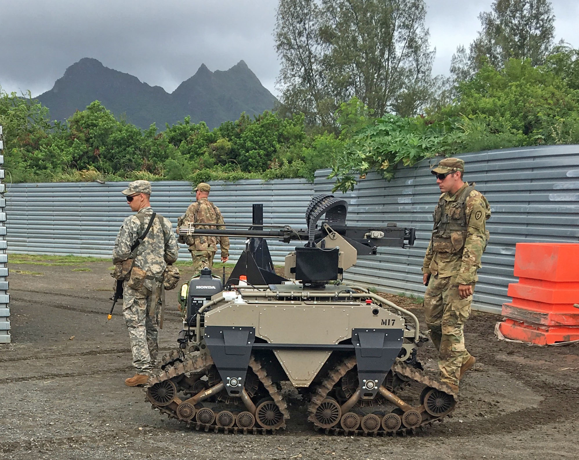 Soldiers of the 25th Infantry Division employed this Multipurpose Unmanned Tactical Transport, armed with an M2 .50-caliber machine gun, during the Pacific Manned Unmanned – Initiative at Marine Corps Training Area Bellows in July 2016. (Photo by Kimberly Bratic, TARDEC Public Affairs)