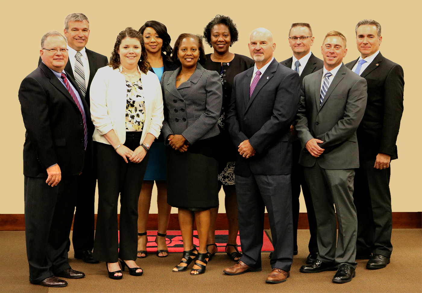 The May 2016 Huntsville class of fellows, from left to right: in the back row, Fred Little, Angela Jones, Ruby Price, Shawn Gresham, Daniel Hernandez; in the front row: Bob Domitrovich, Jennifer Stephenson, Cheryl Hickman, Noel Paschal, Nate Curry. The fellowship, designed to cultivate civilian acquisition leadership by offering educational and professional development opportunities similar to those available to military personnel, is offered at Huntsville, Alabama, Warren, Michigan, and Aberdeen, Maryland.