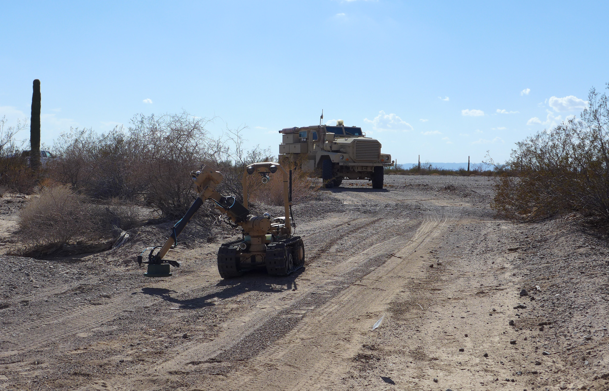 Combat engineers follow SREHD during a route clearance mission. SREHD's capabilities are in line with the Army's renewed focus on the broad range of wide-area security work that builds on the gains made during combined arms maneuver—which SREHD also enables. (Photo courtesy of PM CCS)