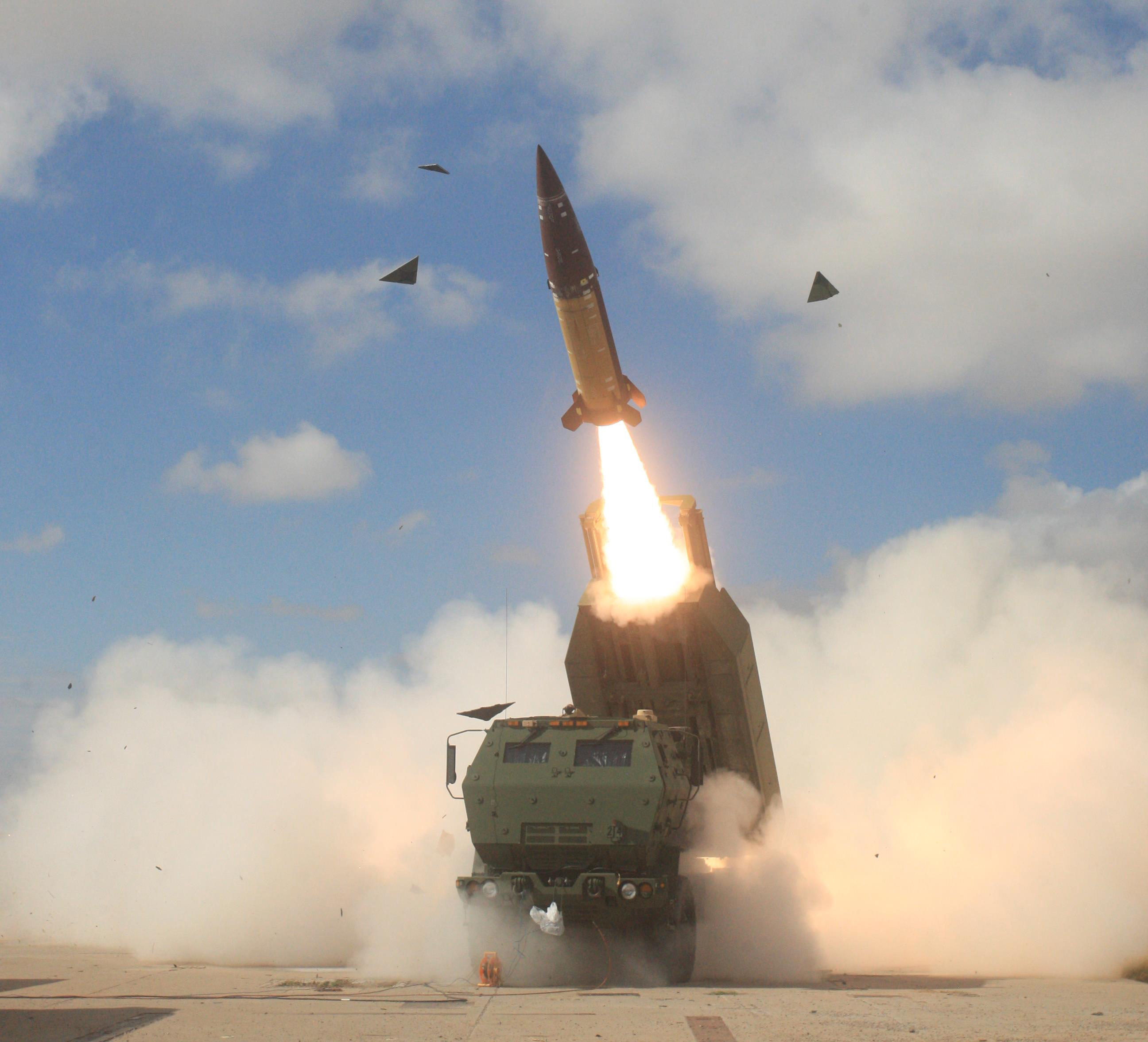 The Arkansas Army National Guard's 1st Battalion, 142nd Field Artillery team fires an ATACMS at White Sands Missile Range in July 2015. The system saw combat service in the Persian Gulf War, Iraq and Afghanistan and is still in production. (Photo courtesy of Arkansas Army National Guard)