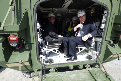 Lt. Gov. Guadagno's team experienced a rolling tour of a Stryker while visiting the CGA. (US Army CERDEC photo, Kelly White)