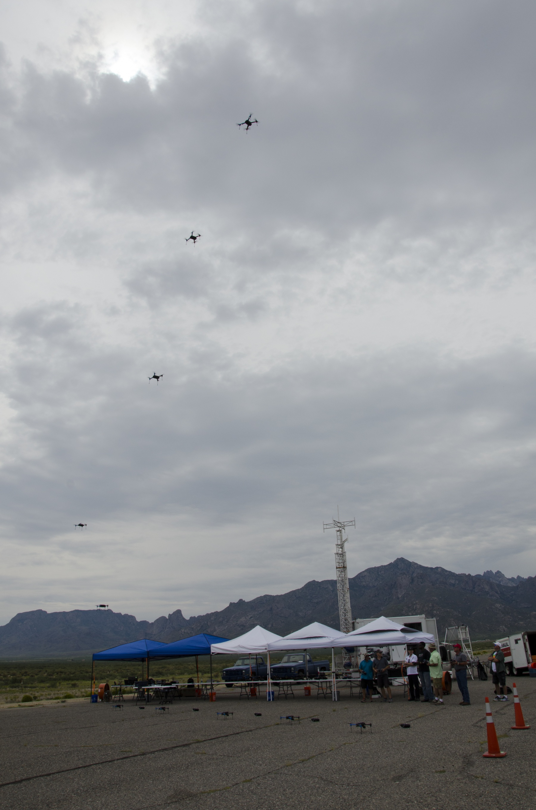 Small, expendable robots scattered behind enemy lines—like these off-the-shelf drones launch from White Sands Missile Range in September 2015, in preparation for Network Integration Evaluation 16.1—can be really disruptive to the enemy, according to Paul Scharre, a Ranger veteran who's now a robotics expert at the Center for a New American Security. (Photo by John Hamilton)