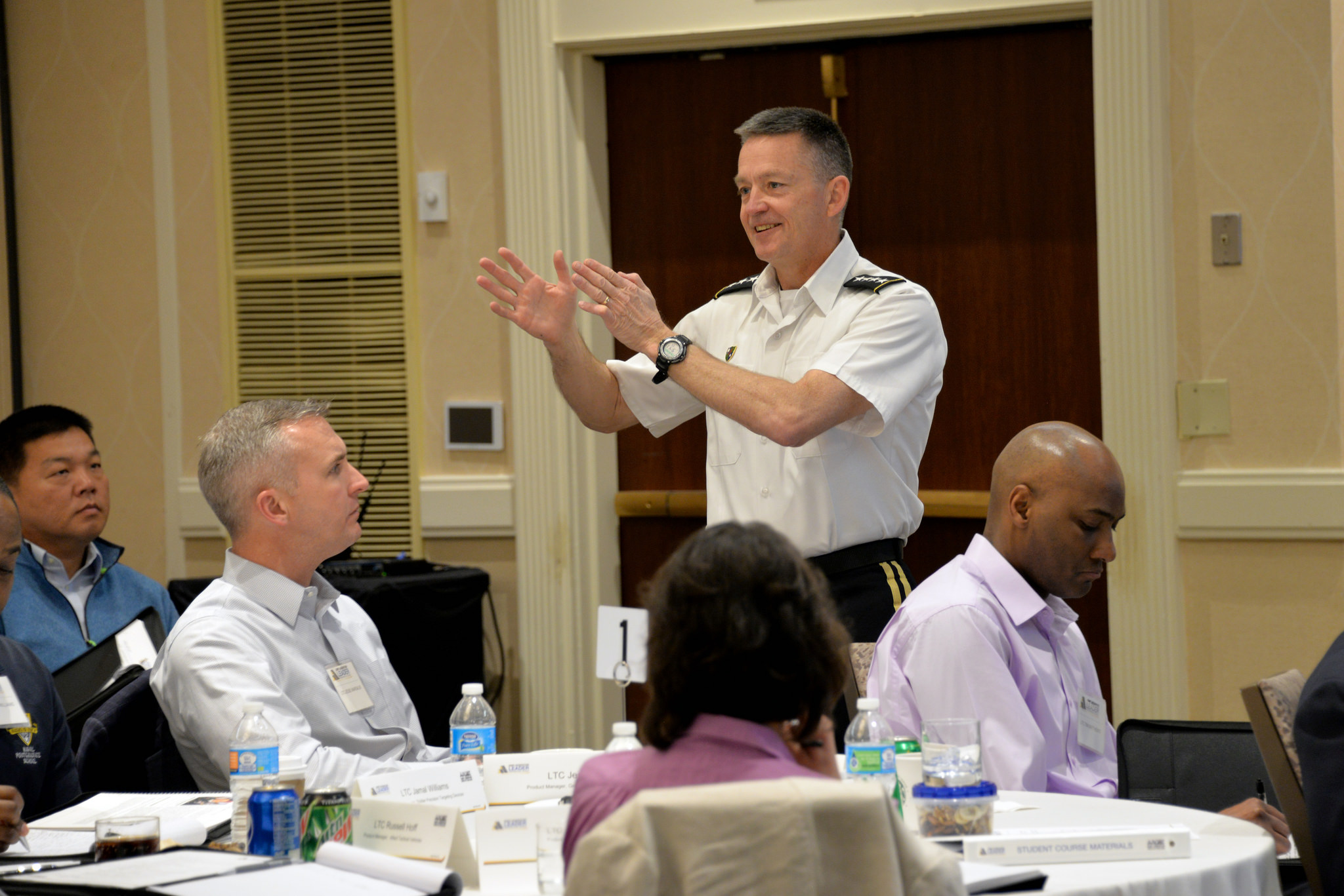 Gen. Daniel Allyn, the Army's vice chief of staff, answers students' questions about their upcoming positions during the AALPC.
