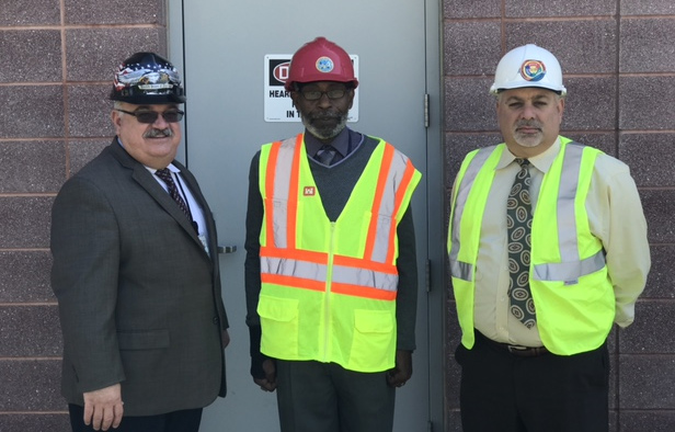 Assistant Product Manager Alberto Dominguez, left, Product Team Lead Willie Matthews, center, and Product Team Assist Joe Casazza led the infrastructure modernization project that wrapped up in April at Fort Detrick, Maryland. (Photo by Scott Sundsvold, I3MP)