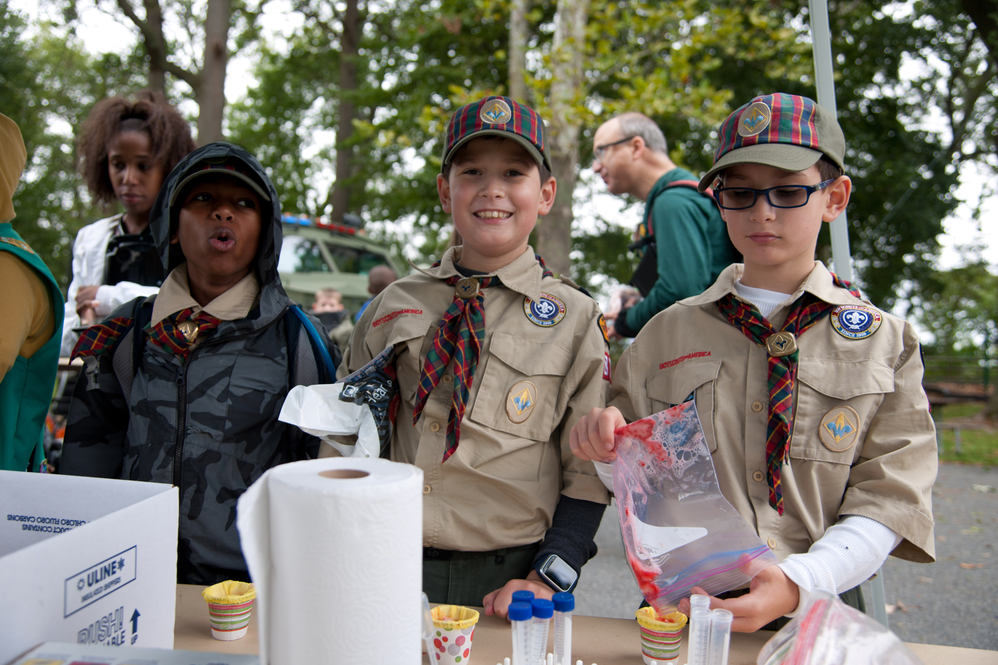 Boy Scouts from Maryland and surrounding states participate in the October 2016 STEM in Scouting Day at Aberdeen Proving Ground, the largest scouting STEM event of its kind in the nation held on a military installation. Even if event participants don't go on to careers in STEM or with the military, AEOP's outreach helps build literacy in science and math, where U.S. students trail their peers in other countries. (Photo by Tom Faulkner, RDECOM)