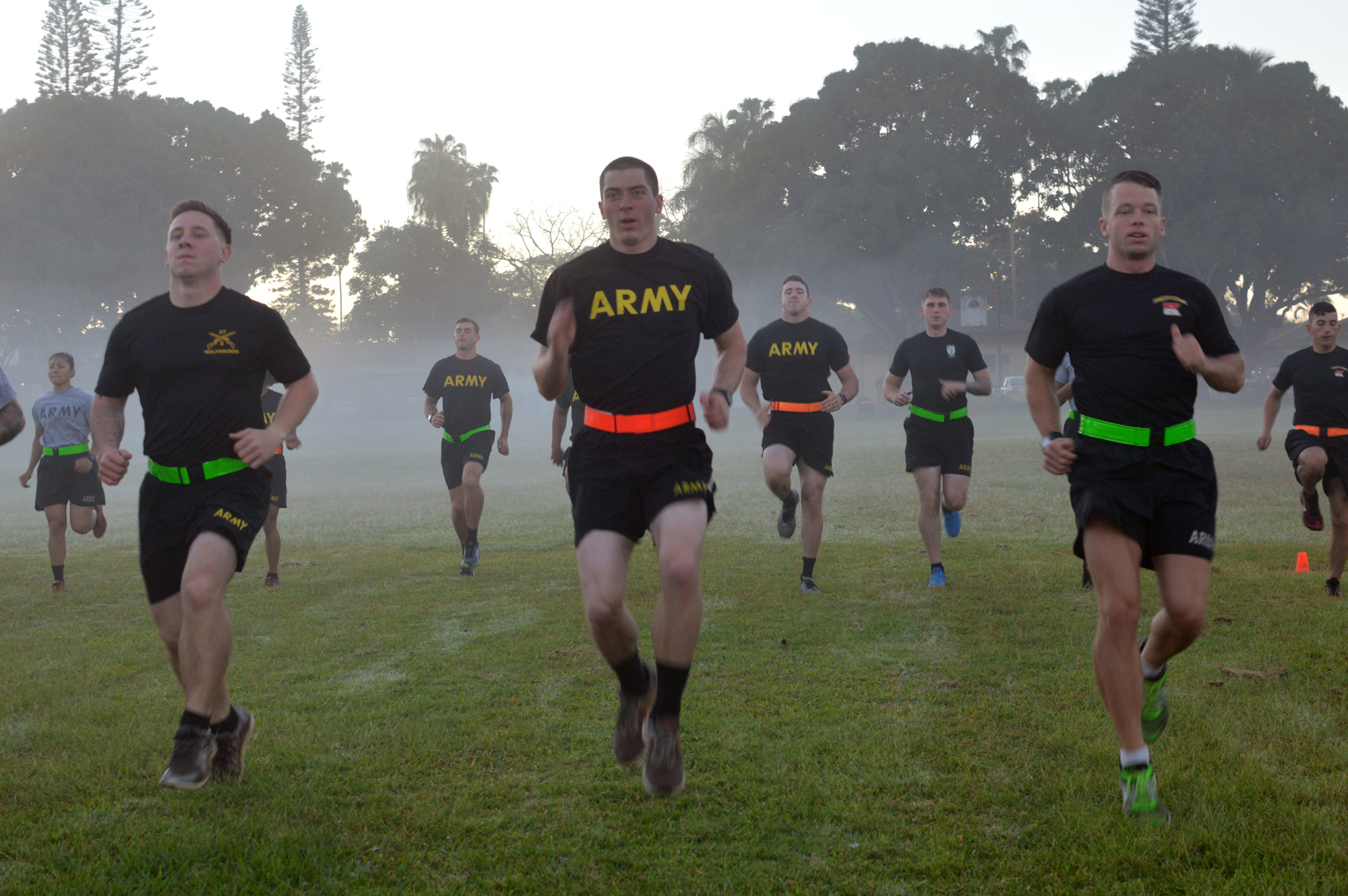 Soldiers assigned to 3rd Brigade Combat Team (BCT), 25th Infantry Division, (ID) perform endurance and mobility training March 13 at Watts Field on Schofield Barracks, Hawaii. The Soldiers participated in a weeklong advanced physical training course. In 2012, after negative input from a Soldier online survey on the Army physical fitness uniform, the Army updated the attire with a new design, material and more sizes to address the concerns. (U.S. Army photo by Staff Sgt. Armando R. Limon, 3rd BCT, 25th ID)