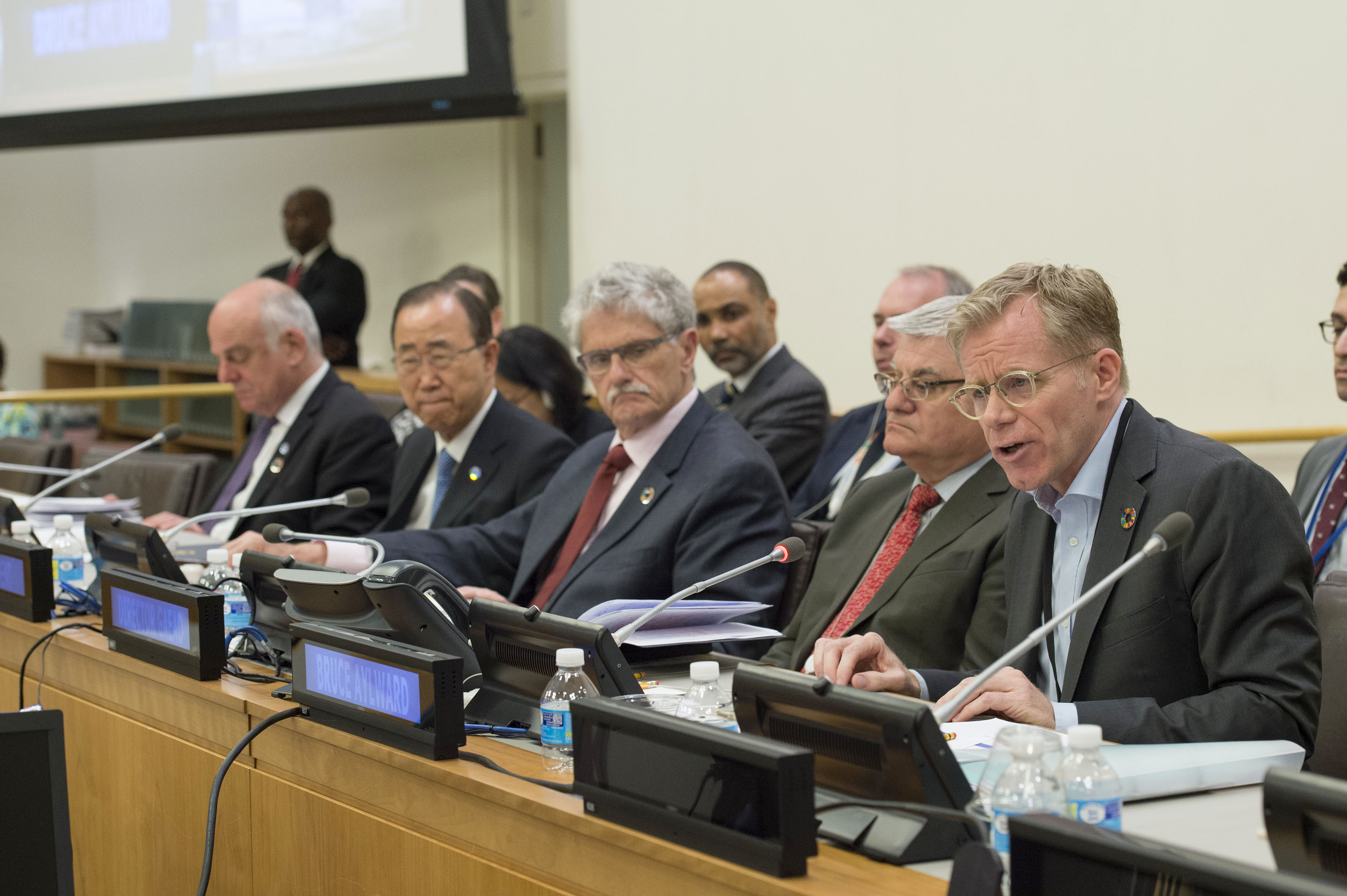 """Dr. Bruce Aylward, right, speaks in June 2016 at a briefing to the United Nations General Assembly on the report from U.N. Secretary-General Ban Ki-moon, second from left, on strengthening the global health system. """"The Ebola outbreak really brought new urgency to long-needed reform and improvements, not just within WHO and not just within its member states, but also within the whole international architecture,"""" Aylward told Army AL&T. (U.N. photo by Eskinder Debebe)"""