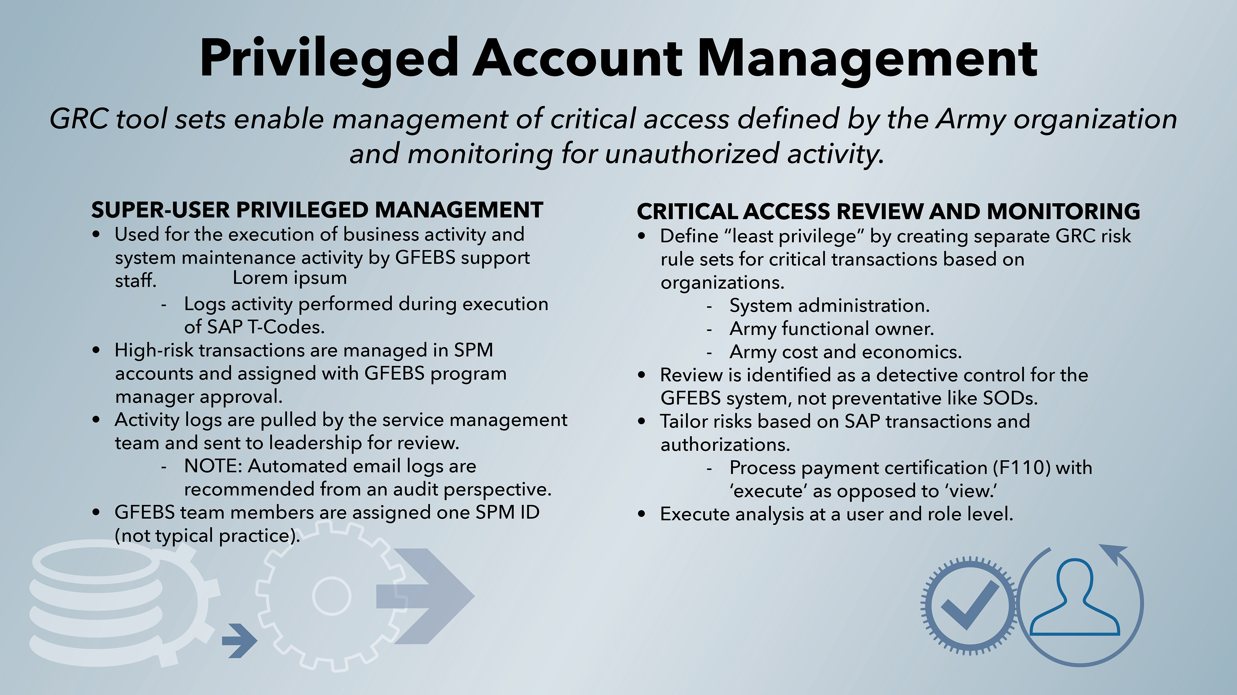Elevated access privileges provide users with system monitoring access as well as capabilities to investigate, analyze and remedy critical and high-risk problems. Their actions are tracked, stored, monitored and reviewed, and such privileges are limited to a very small number of users in the PMO staff.