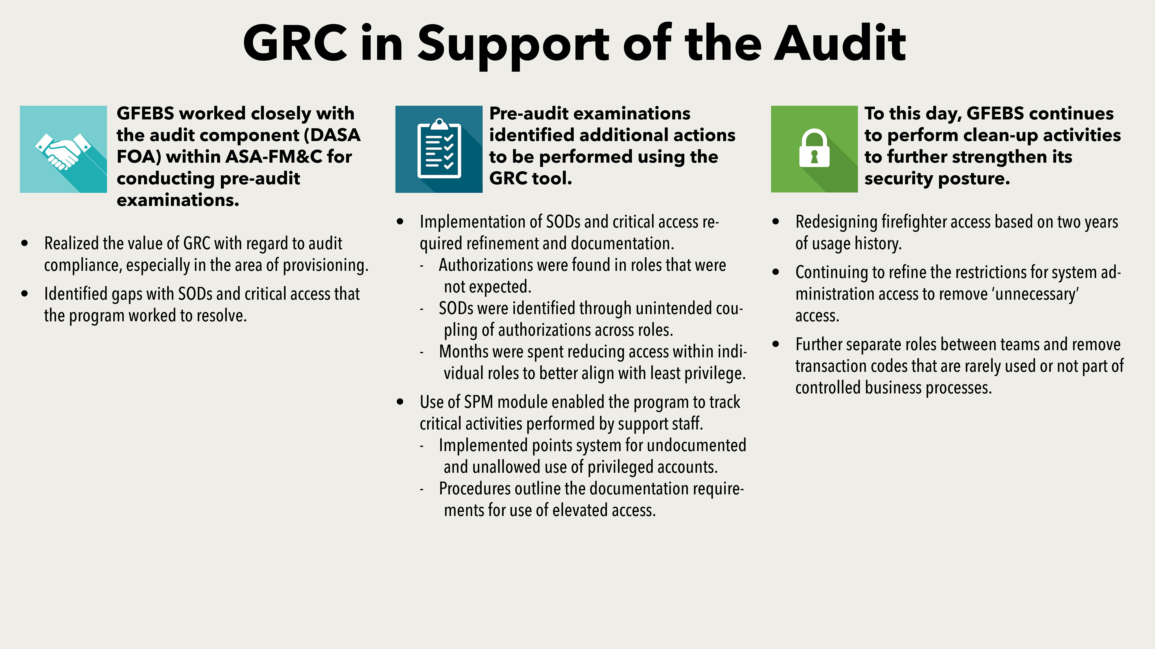 The GFEBS PMO is working closely with DASA(FOA), the assistant secretary of the Army for financial management, the system integrator and Army commands to support the FY18 audit, and continues to take steps to strengthen the system's security posture.