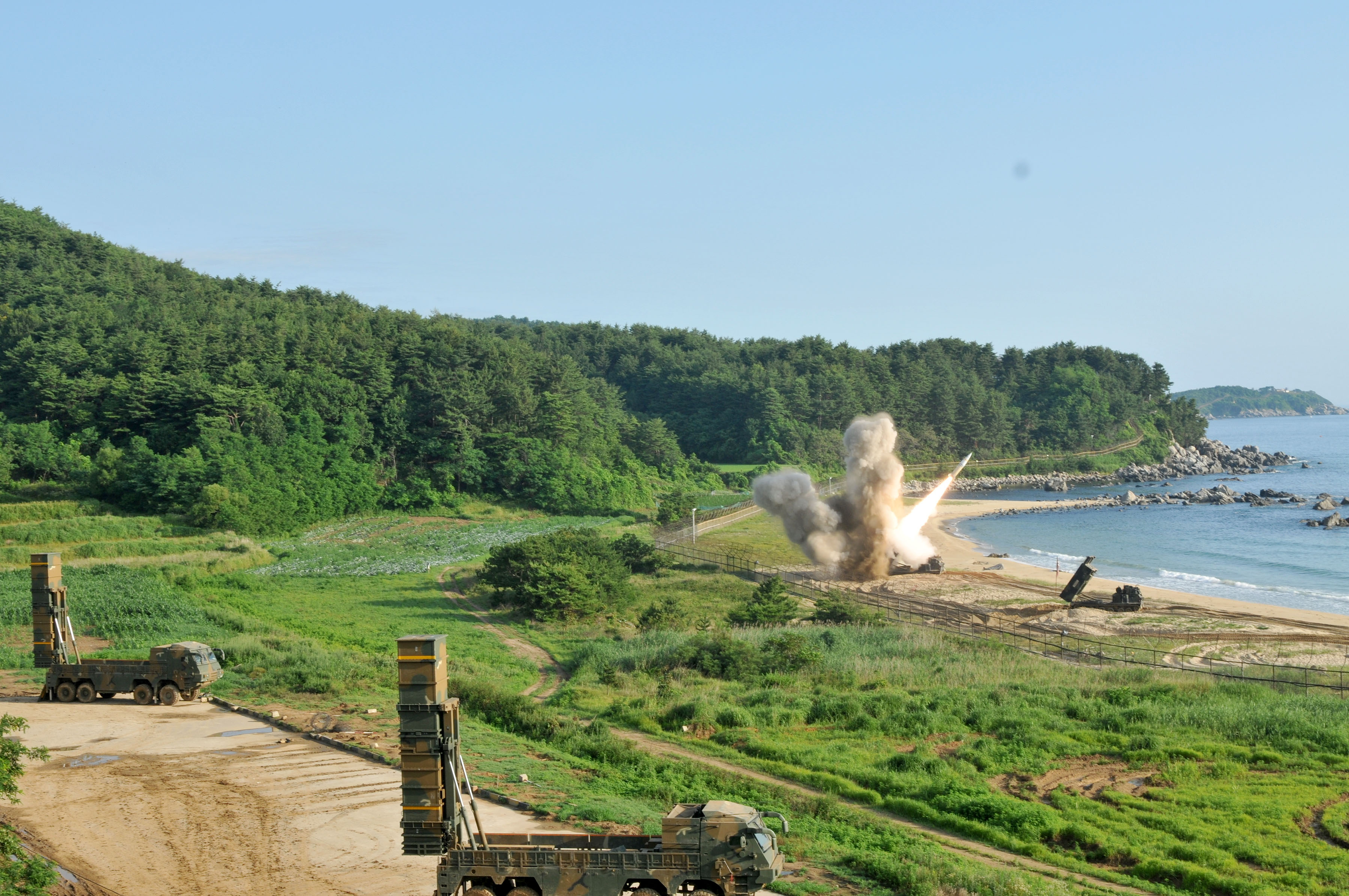 An M270 Multiple Launch Rocket System assigned to the 210th Field Artillery Brigade, 2nd Republic of Korea (ROK)/U. S. Combined Division fires an MGM-140 Army Tactical Missile into the East Sea off South Korea, July 5. The launch demonstrated the deep-strike capabilities that allow the ROK/U.S. alliance to neutralize threats in the region—an important capability given recent technological advances that U.S. adversaries have made while the U.S. has been battling nonstate foes like al-Qaida and the Taliban. (U.S. Army photo by Staff Sgt. Sinthia Rosario, 5th Mobile Public Affairs Detachment)