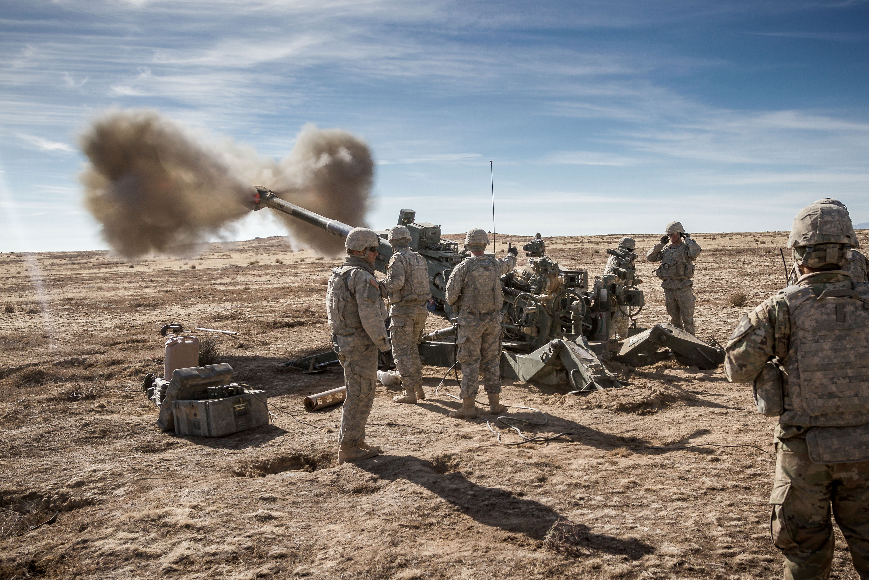 Soldiers assigned to 2nd Infantry Division Artillery, 7th Infantry Division (ID) fire an M777 155 mm howitzer at Orchard Combat Training Center, Idaho, in October 2016. They were part of a group of more than 1,000 7th ID Soldiers participating in Raptor Fury, a training exercise to validate the 16th Combat Aviation Brigade's mission readiness. PEO Ammunition is exploring several new ammunition capabilities that will improve the lethality of 155 mm artillery while minimizing its impact on friendly troops and noncombatants. (Photo by Capt. Brian Harris, 16th Combat Aviation Brigade)