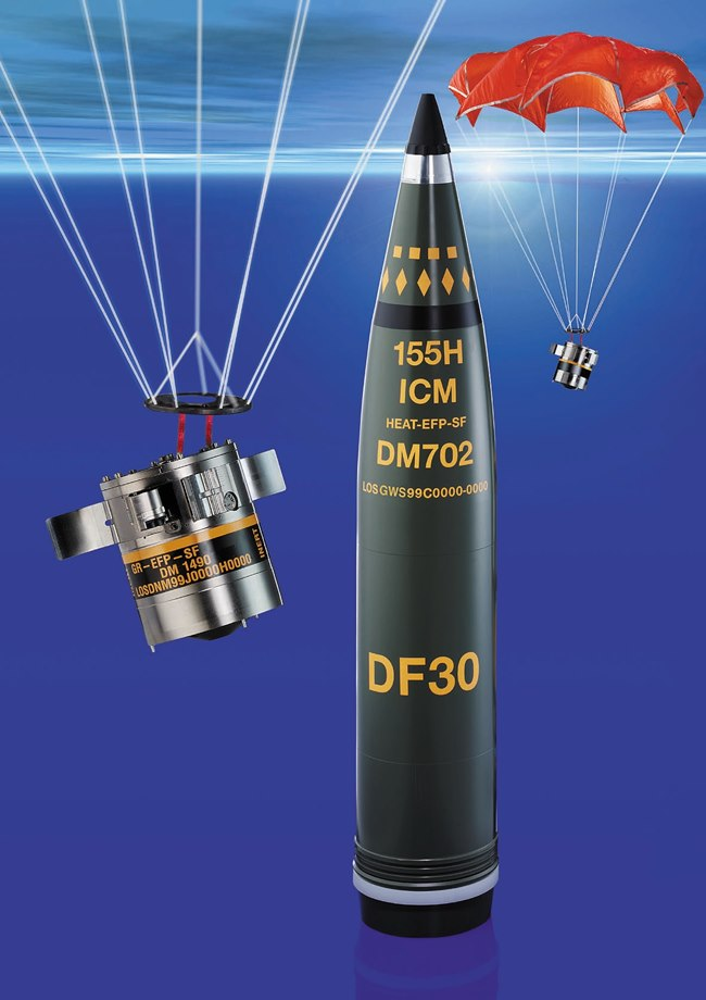 Industry has offered several concepts for new 155mm ammunition. SMArt 155 is a German-made artillery round that contains two submunitions that neutralize stationary and moving armored vehicles. Its multiple self-destruct mechanisms ensure that it meets national and international requirements to limit the amount of UXO left on the battlefield. (Image courtesy of PEO Ammunition)