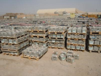 A battery disposal yard at Kandahar Airfield, Afghanistan. In fiscal 2016, more than 373,000 vehicle batteries were replace at a cost of more than $80 million to DOD. (U.S. Army photo by Chip Herrell, AMSAA)