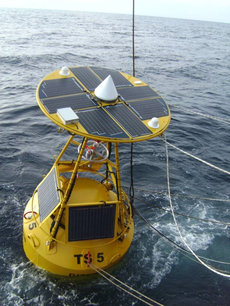 A buoy equipped with solar panels monitors for tsunamis in the Indian Ocean. Solar panels today are lighter and more efficient than previous generations of the technology, requiring fewer panels to generate a given amount of electricity. (Photo courtesy of SOLARA)