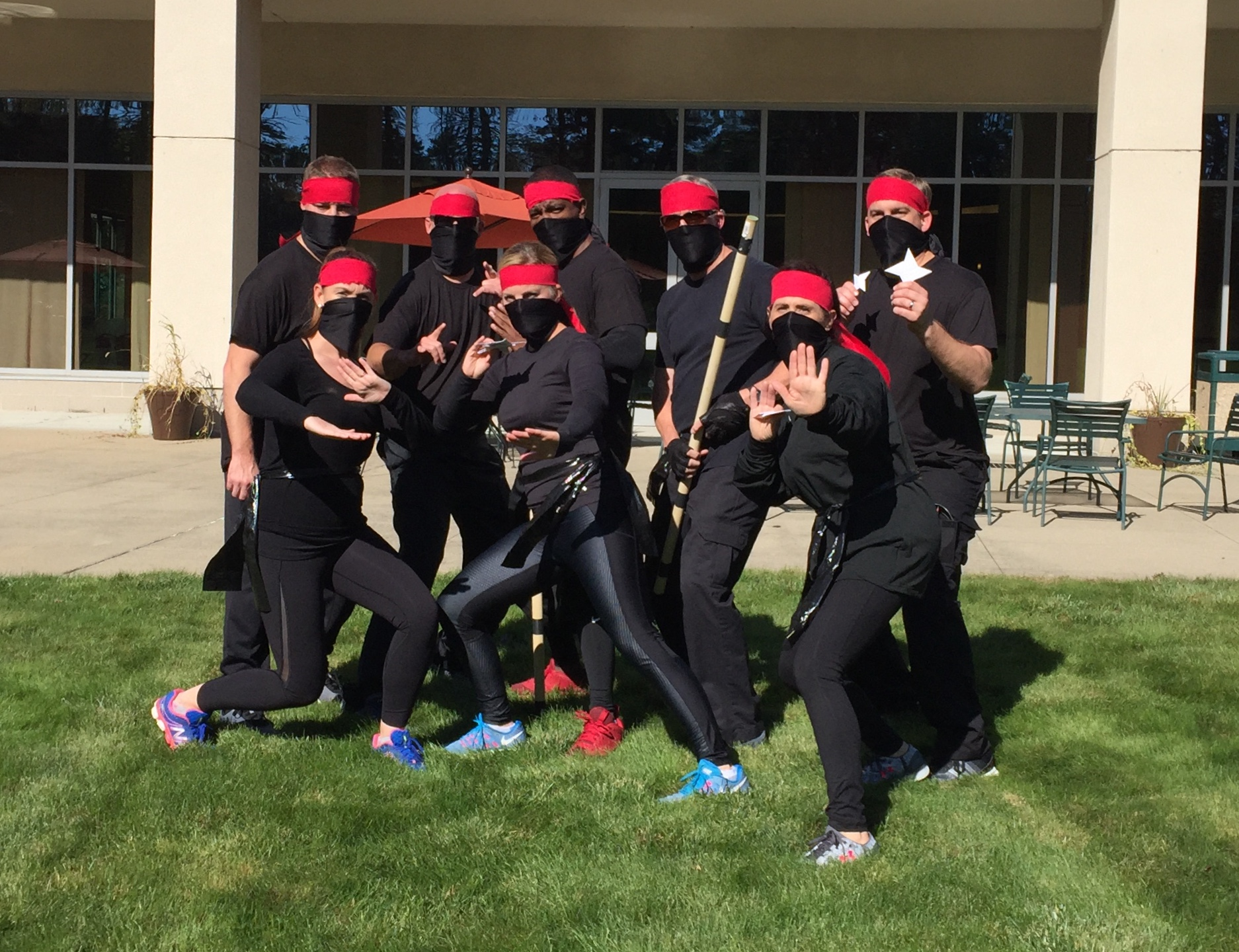 One tradition at CORE is known as Warrior Games, a team-building experience involving physical challenges that are designed to build team cohesion and have a little fun. Each team draws a tribe from a hat and has to create a team uniform. Team Four drew the ninjas. Can you tell? (Courtesy photo)