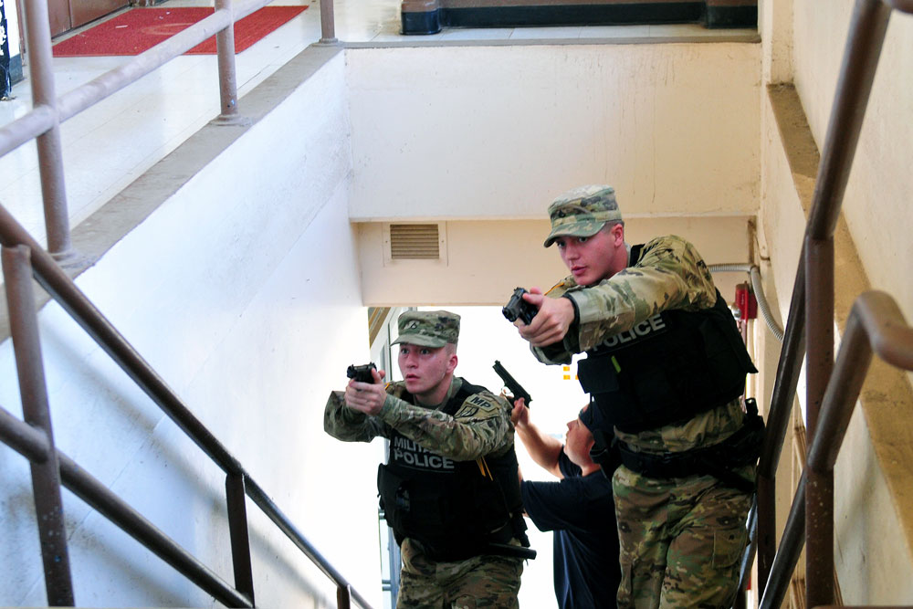 The 8th Theater Sustainment Command (TSC) conducted an active-shooter exercise in September 2017 at the command's headquarters on Fort Shafter, Hawaii. First responder communications are supported by LMRs, now supplied through an innovative arrangement involving two contractors and two enterprise LMR locations. Each contractor supplies the primary core for one location and the secondary core for the other location. (U.S. Army photo by Staff Sgt. Michael Behlin, 8th TSC)