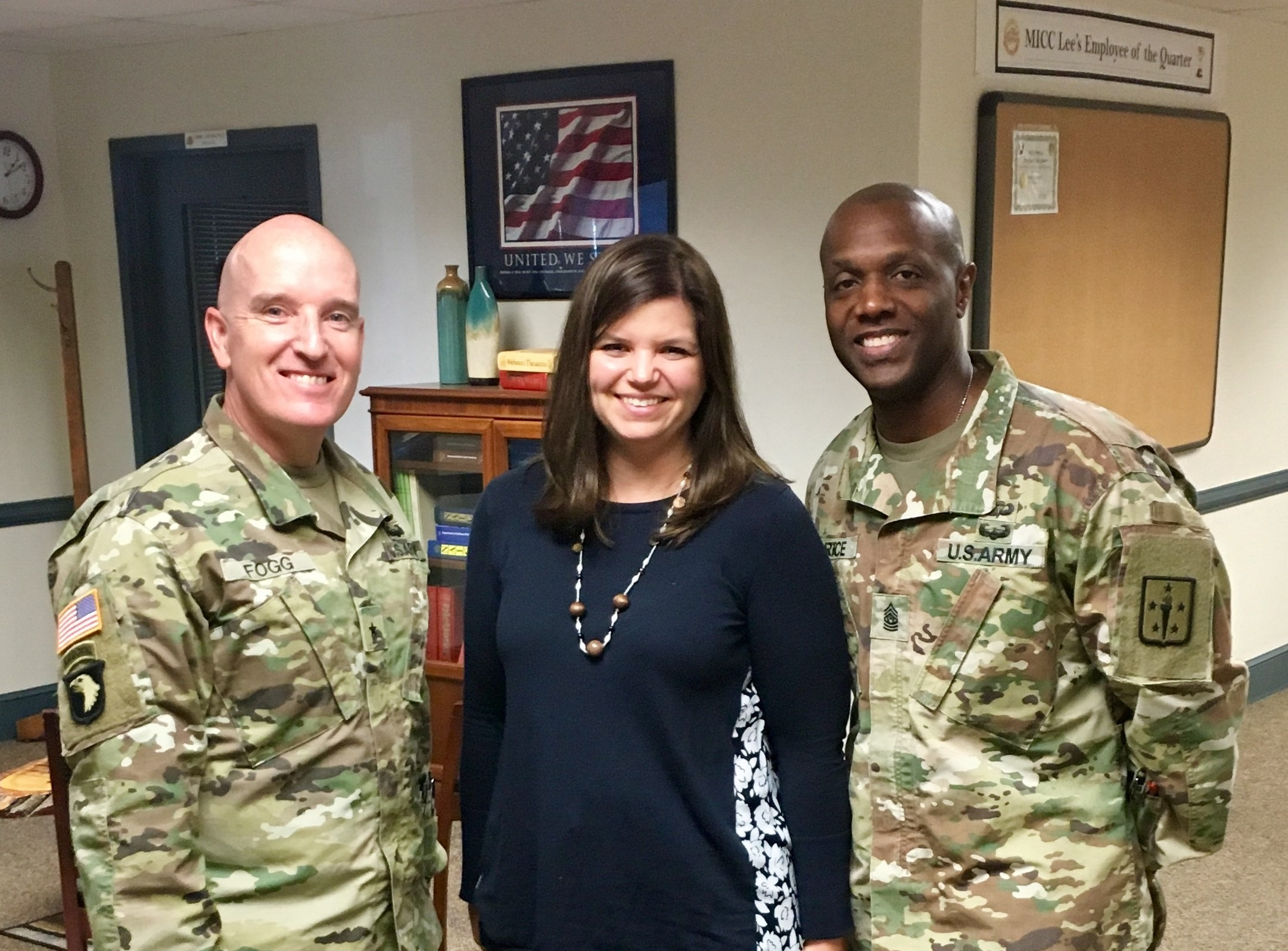 Brig. Gen. Rodney Fogg, Quartermaster General and commandant of the Quartermaster School at Fort Lee, Virginia, and Command Sgt. Maj. Sean Rice, Quartermaster Regimental Command Sergeant Major, visited Ms. Rowley at MICC Fort Lee to express their gratitude for her organization's support.
