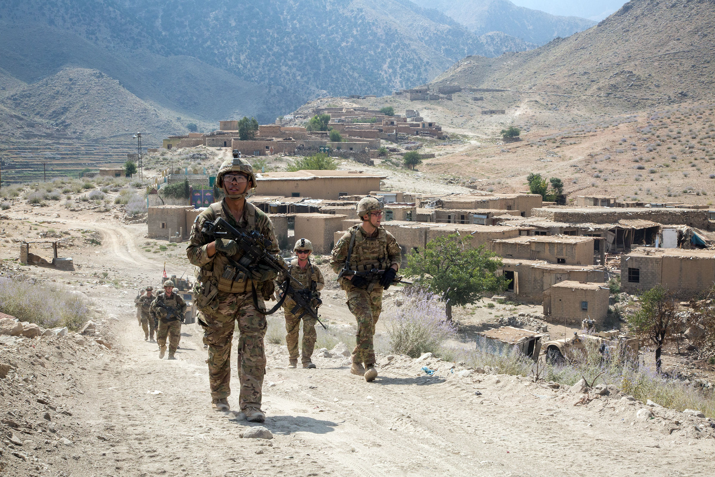 U.S. Paratroopers, assigned to 2nd Battalion, 501st Parachute Infantry Regiment, 1st Brigade Combat Team, 82nd Airborne Division, conduct a tactical ground movement through Pekha Valley, Achin District, Nangahar Province, Afghanistan, Sept. 3, 2017. The Paratroopers moved to an observation post to provide base defense. (U.S. Army photo by Cpl. Matthew DeVirgilio)