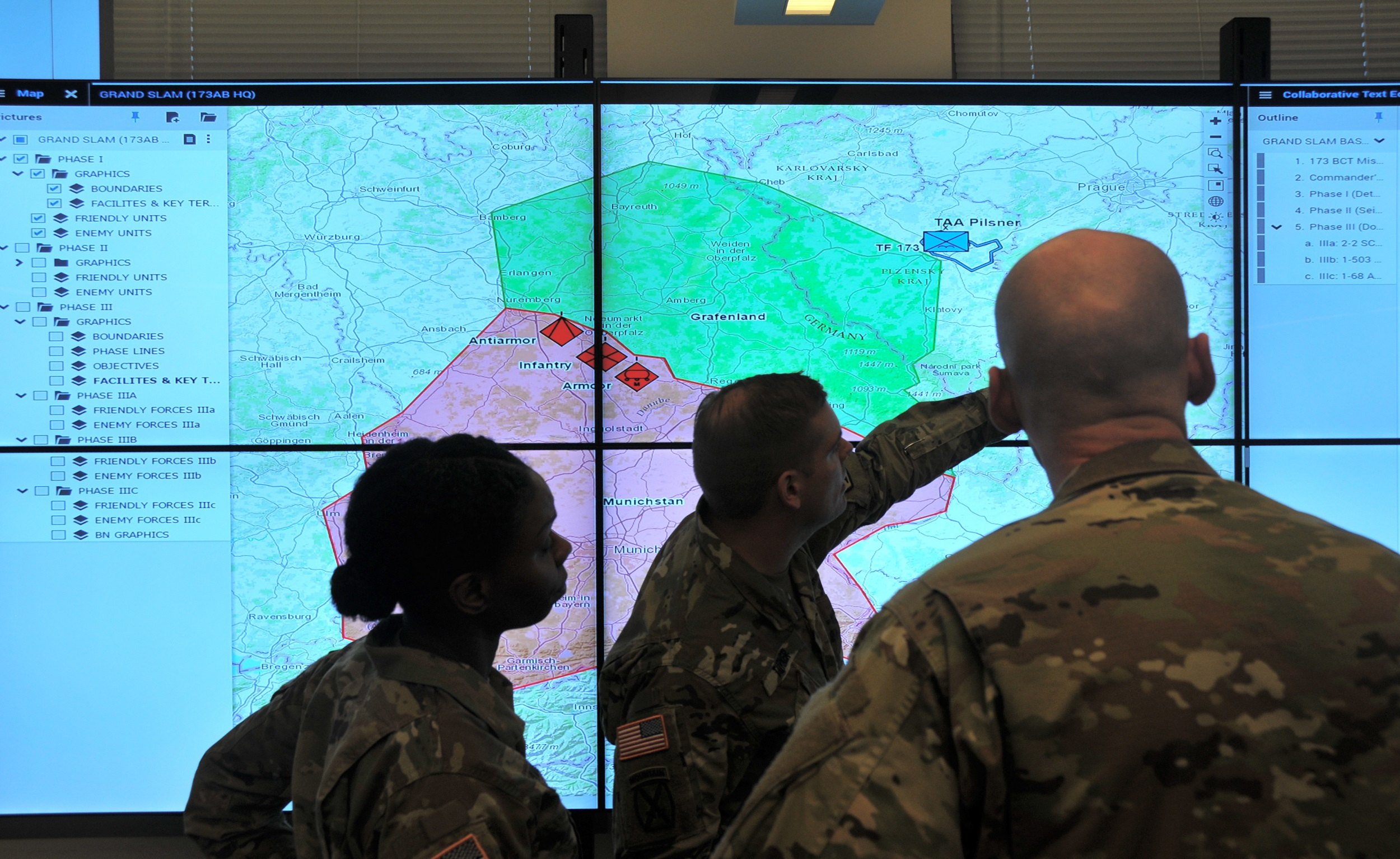 Soldiers demonstrate the Command Post Computing Environment prototype at Aberdeen Proving Ground, Maryland, on May 16, 2017. The CP CE infrastructure, consisting of a new single tactical server infrastructure plus a common software baseline, will provide Soldiers an underlying core CP system upon which additional warfighting functionality can be built. (U.S. Army photo by Dan Lafontaine)