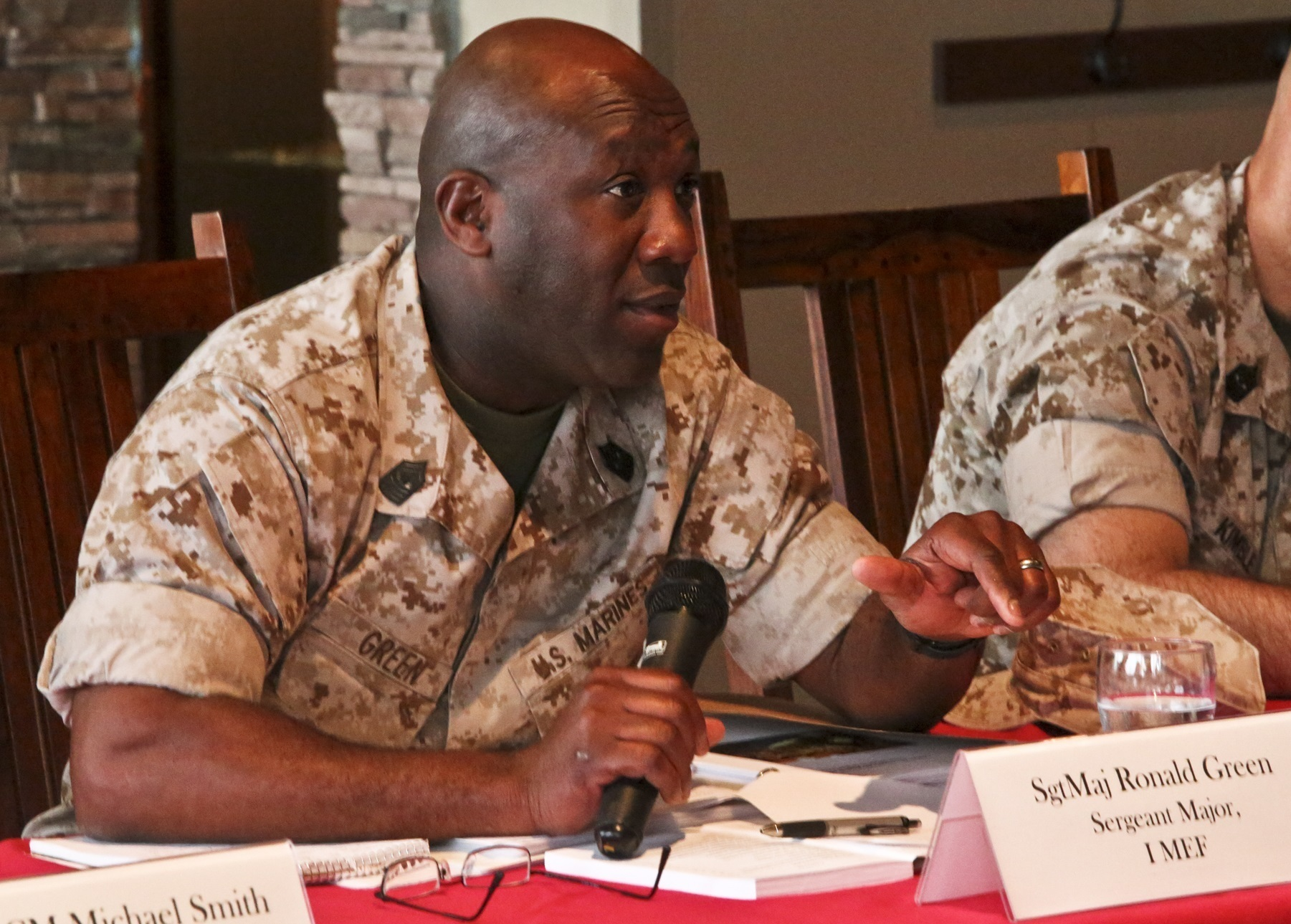 Sgt. Maj. Ronald Green, sergeant major for I Marine Expeditionary Force, expresses his ideas to representatives of the Department of Defense Military Compensation and Retirement Modernization Commission aboard Camp Pendleton, Calif., March 25. The Commission's goal is to update programs and resources to fit the changing needs of service members.