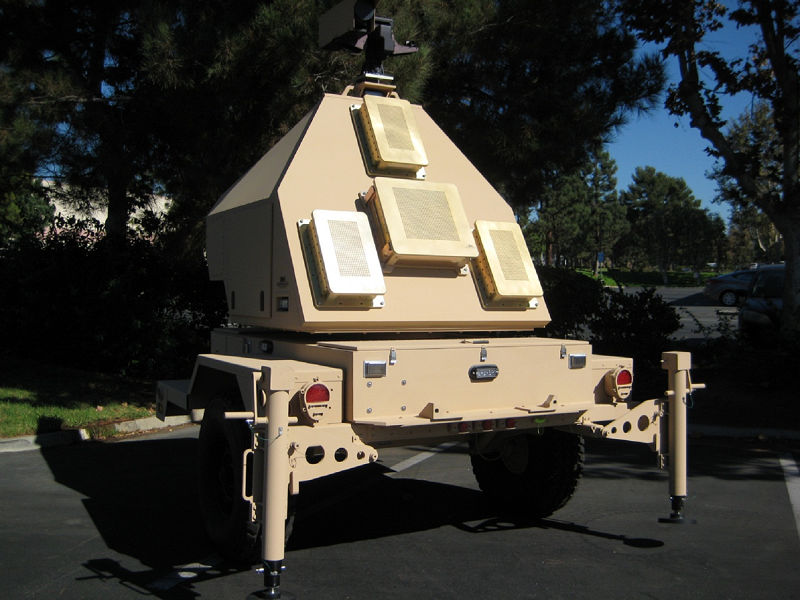 A towed radar similar to what the future Projectile Tracking System radar might look like. The long-range cannon team is reusing this system developed for a now-discontinued artillery project. The tracking system follows projectiles in flight to predict where the rounds will hit, allowing Soldiers to make corrections for subsequent shots. (Photo courtesy of the authors