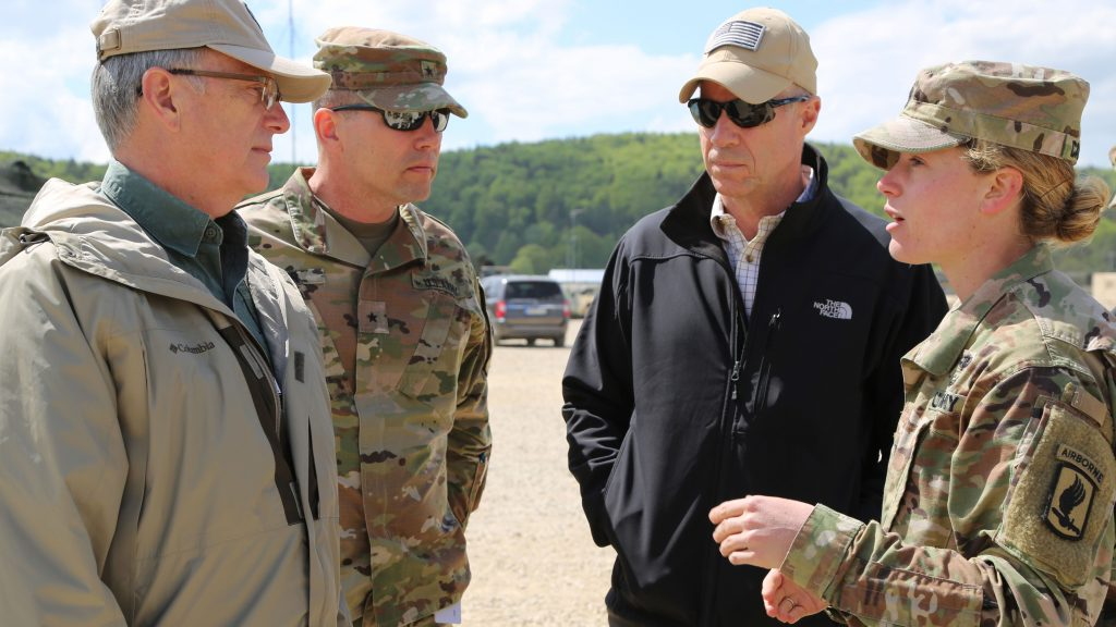 Capt. Brigid Calhoun of the 173rd Infantry Brigade Combat Team (Airborne) briefs, from left, Dr. Bruce D. Jette, assistant secretary of the Army for acquisition, logistics and technology; Brig. Gen. Joel K. Tyler, commanding general of the Joint Modernization Command; and the author in April at Hohenfels, Germany. Various military and civilian officials came to Hohenfels to see how the Joint Warfighting Assessment (JWA) helps the Army evaluate emerging concepts. Among the capabilities evaluated at JWA 18 were improved electronic warfare systems that the Army RCO played a leading role in developing on an accelerated schedule. (U.S. Army photo by Staff Sgt. Kalie Frantz, 55th Combat Camera)