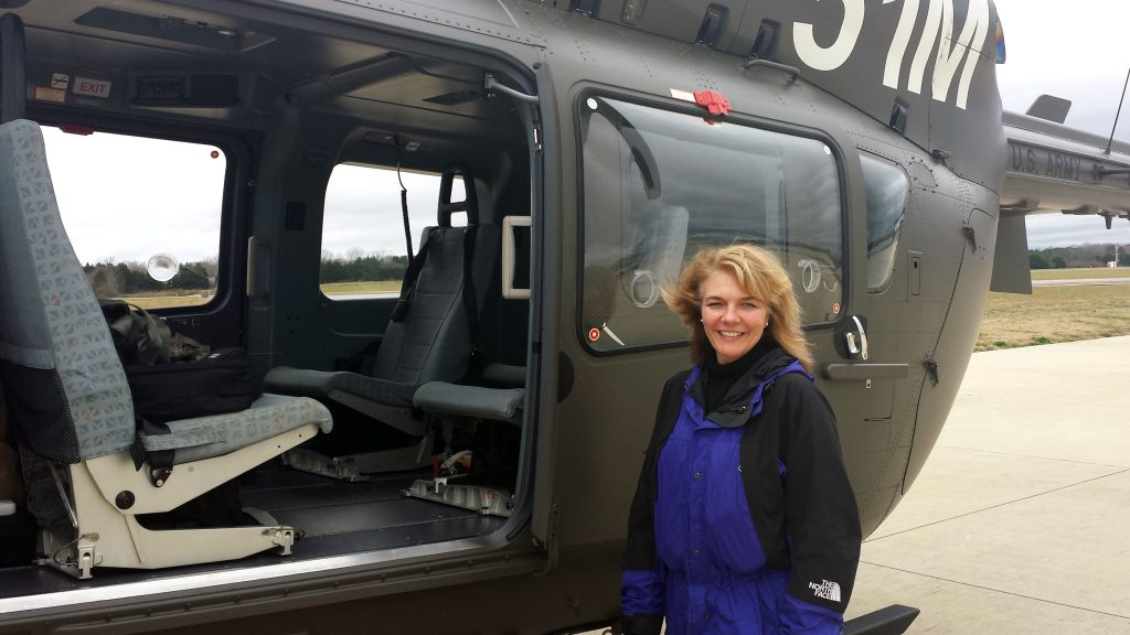 Regina Bublitz, standing beside a UH-72A Lakota helicopter at Huntsville Executive Airport in Huntsville, Alabama, in 2017, will take on her charter at Product Manager Aircraft Survivability Equipment Missile Warning Systems, PEO IEW&S, in the summer of 2019. She is currently the product director for the Light Helicopter Product Office at PEO Aviation, where she is responsible for the life cycle management of the UH-72A. (Photo courtesy of Regina Bublitz)