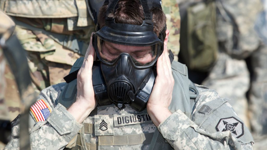 The Joint Service General Purpose Mask is one element of Soldiers' training for integrated CBRN readiness. Experimentation will provide the early warning that Soldiers need to don personal protective equipment. (U.S. Army Reserve photo by Spc. Torrance Saunders, 982nd Combat Camera Company Airborne)