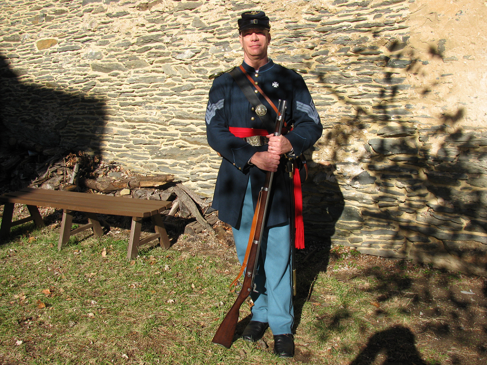 Block is a civil war reenactor within the 3rd U.S. Infantry Regiment, and takes place in at least one reenactment or living history event each month. Photo courtesy of the author.