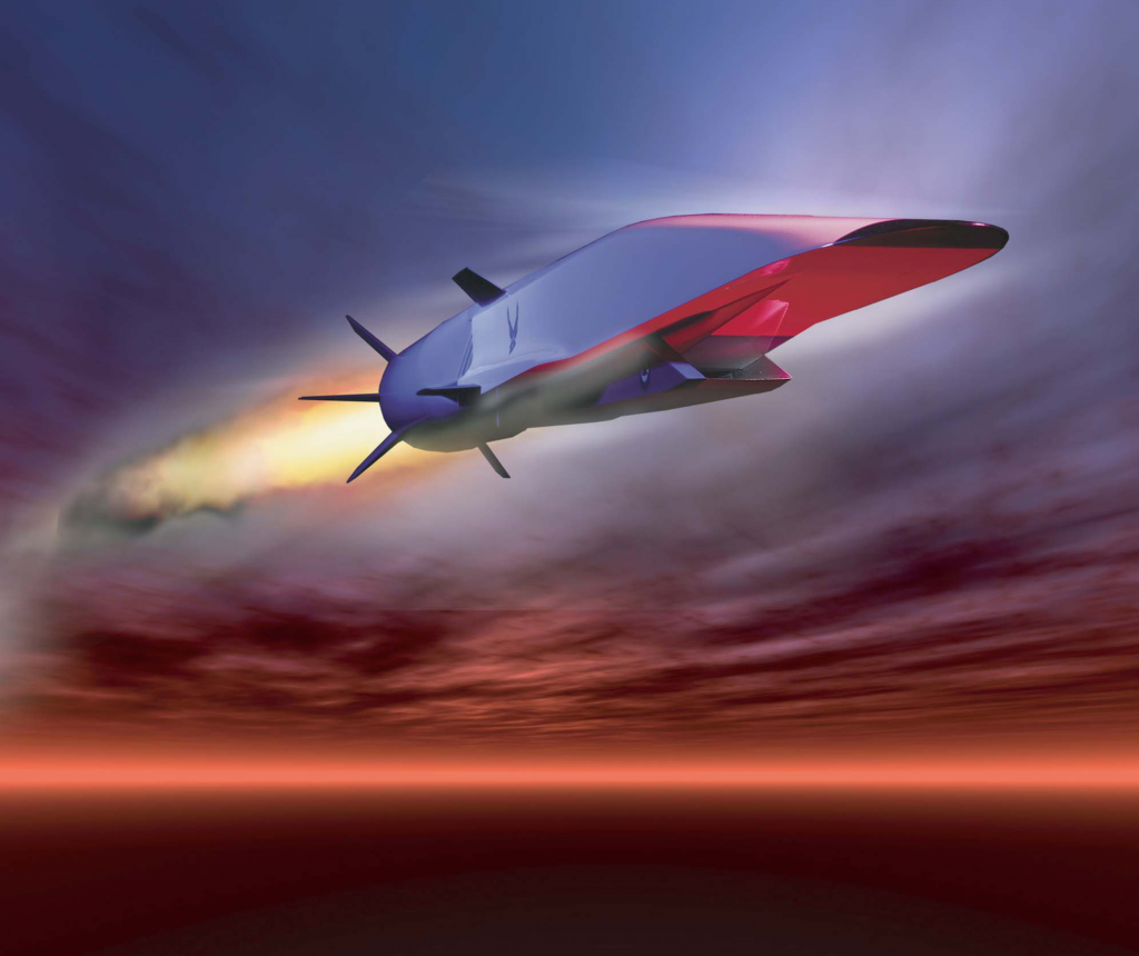 "The U.S. Air Force is set to demonstrate the hypersonic X-51A Waverider, which is designed to ride on its own shock wave and accelerate to about Mach 6. Hypersonics will ""revolutionize military affairs in the same fashion that stealth did a generation ago, and the turbojet engine did a generation before,"" according to an Air Force study. (U.S. Air Force image)"